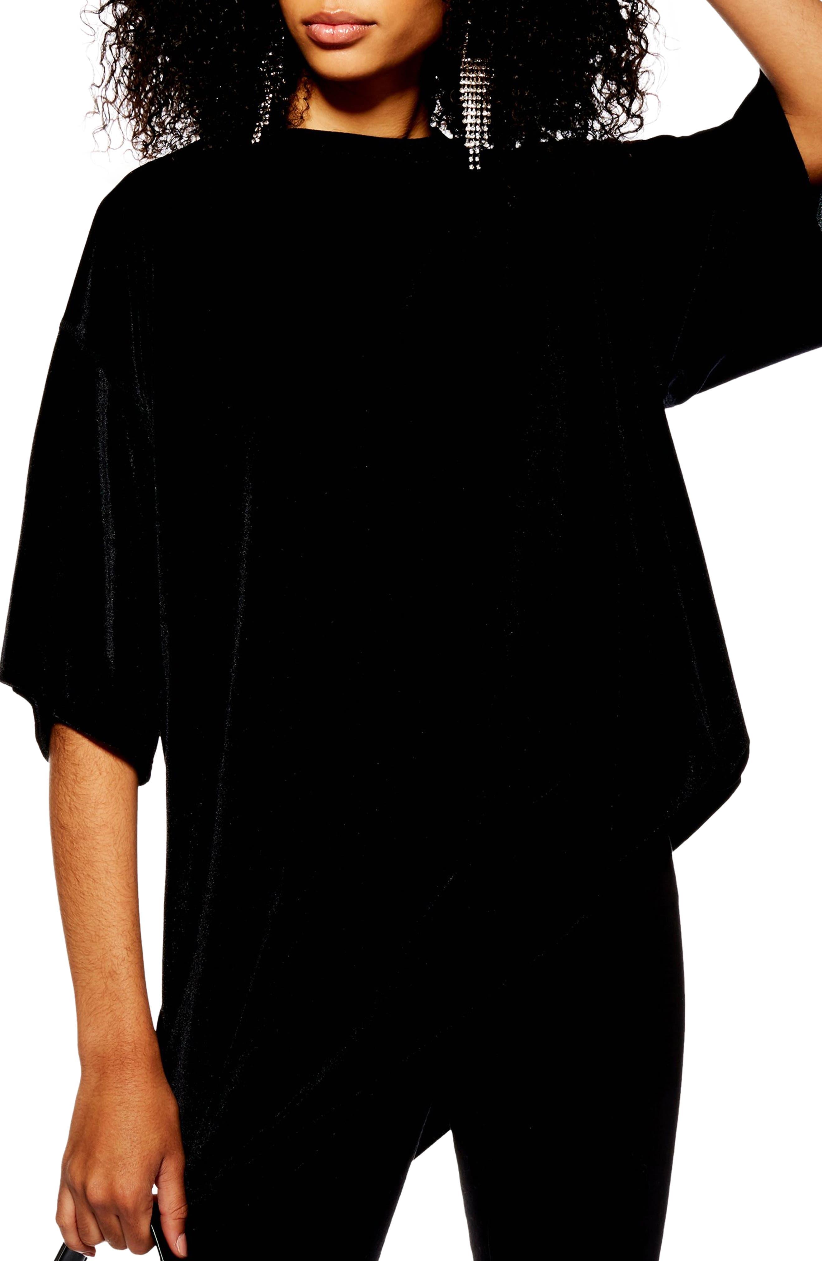 Velvet Tunic Shirt, Main, color, BLACK