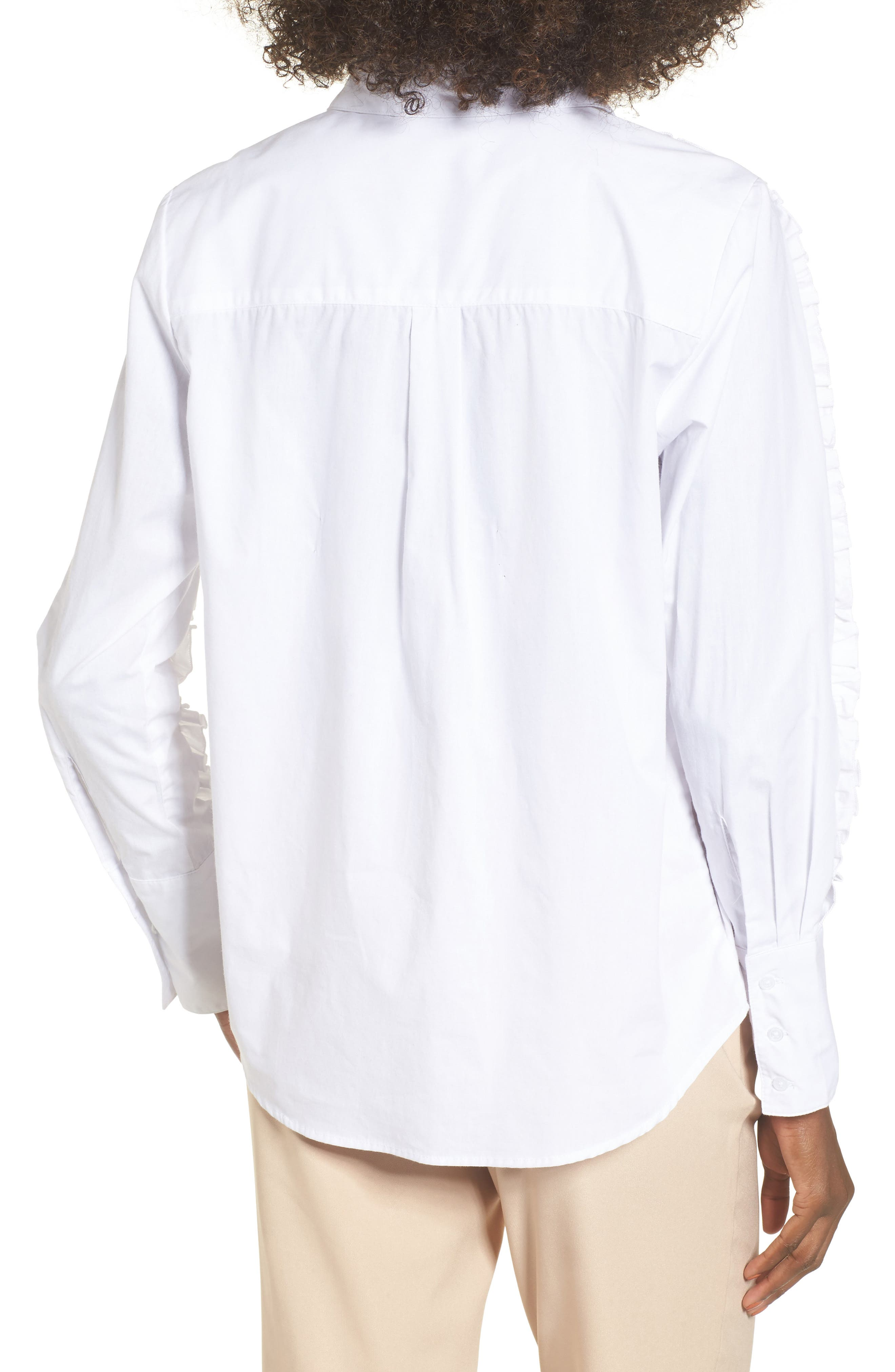 Closer Ruffle Sleeve Button Down Shirt,                             Alternate thumbnail 2, color,                             100