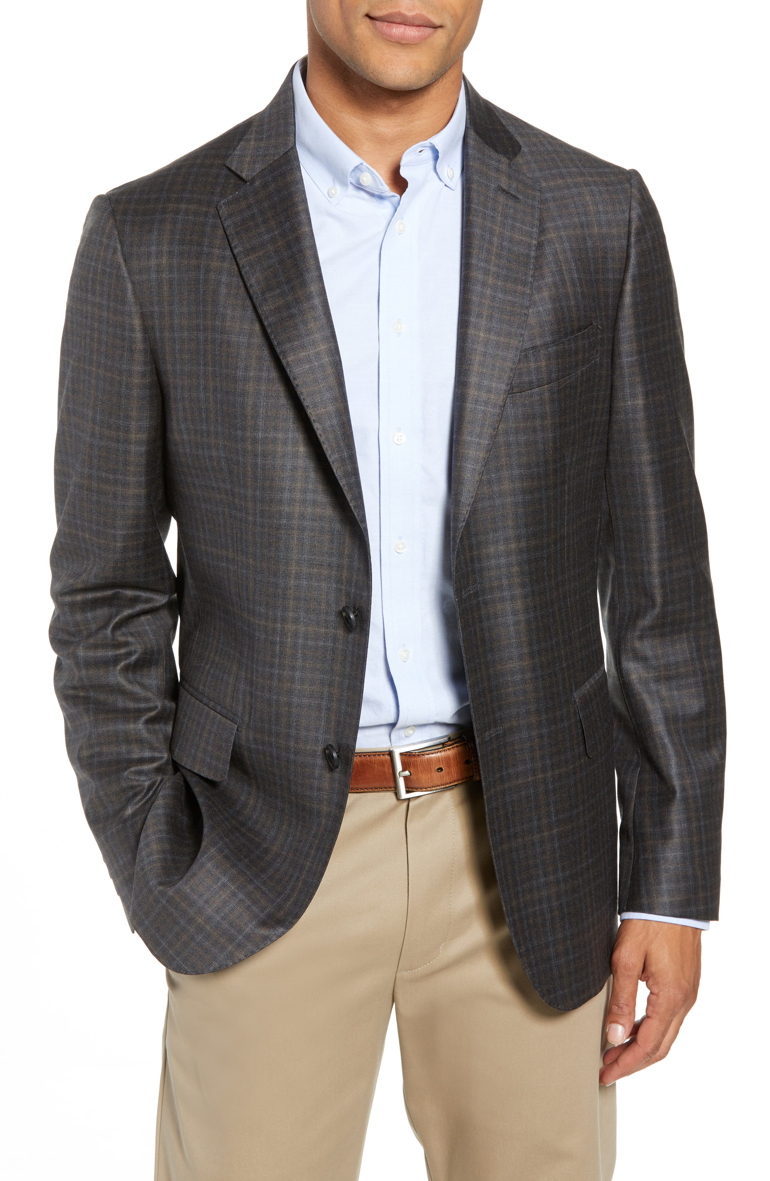 Traditional Fit Plaid Wool Sport Coat,                         Main,                         color, CHARCOAL