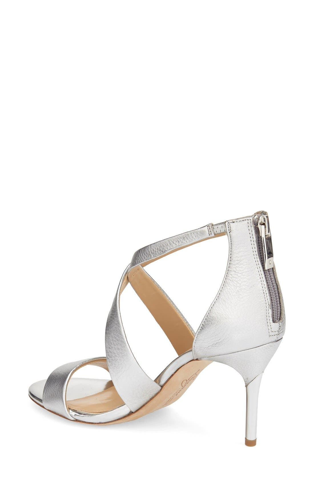 'Pascal 2' Strappy Evening Sandal,                             Alternate thumbnail 2, color,                             PLATINUM LEATHER