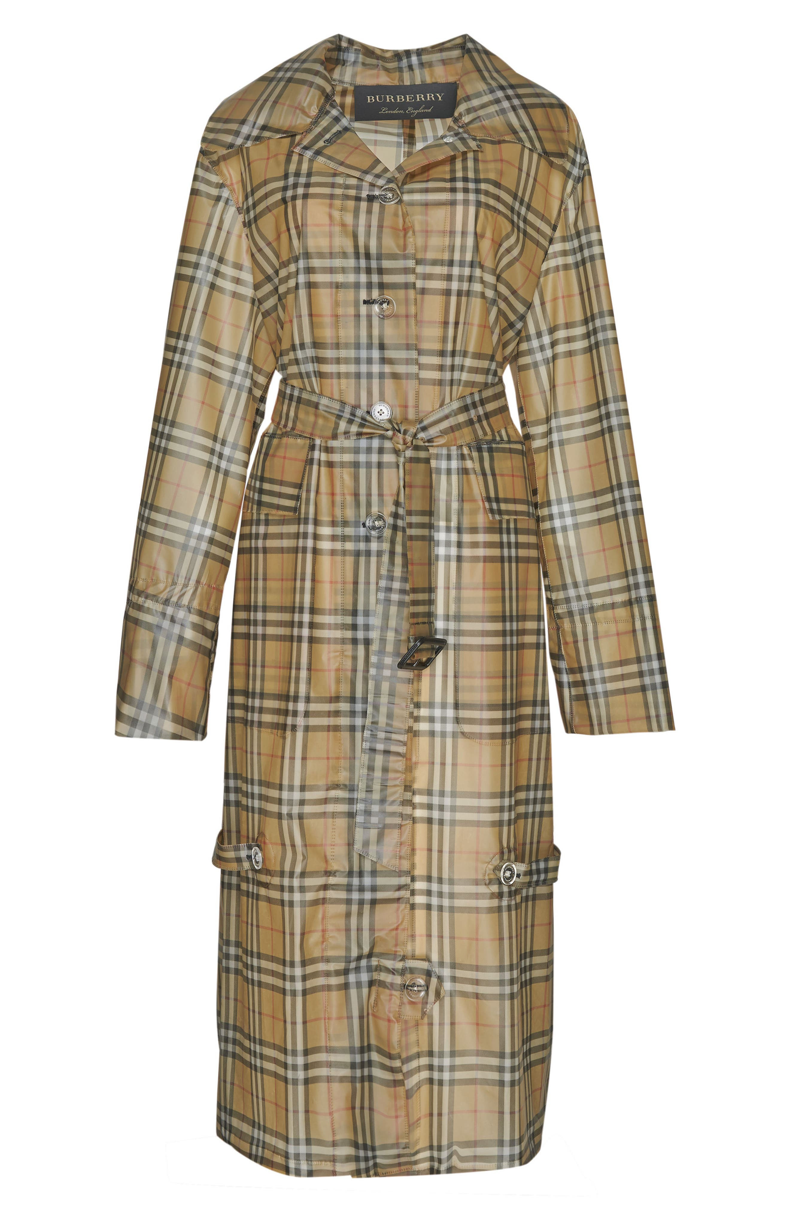 Vintage Check Plastic Trench Coat,                             Alternate thumbnail 5, color,                             704