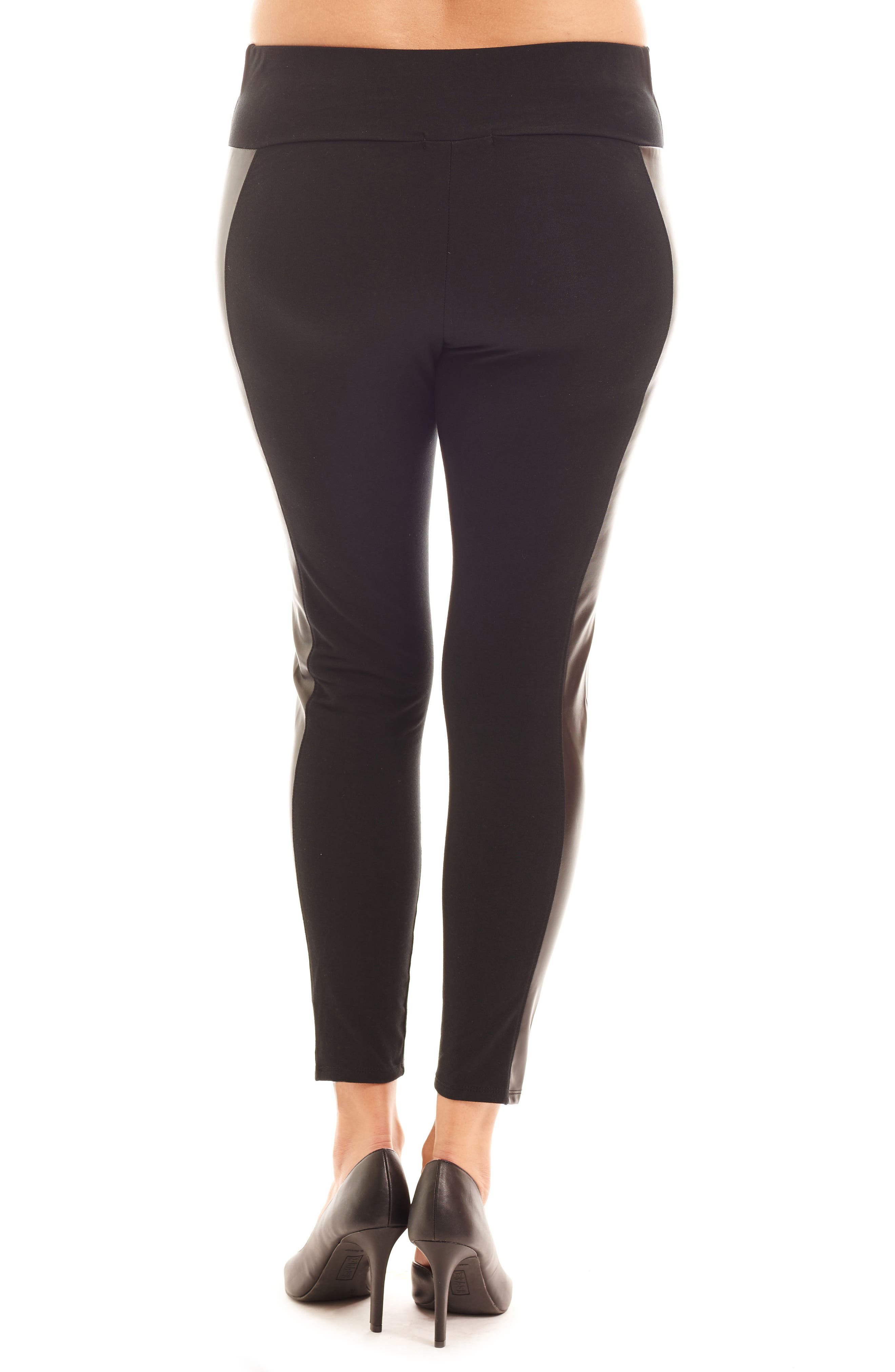 Ella Faux Leather & Knit Maternity Leggings,                             Alternate thumbnail 2, color,                             001