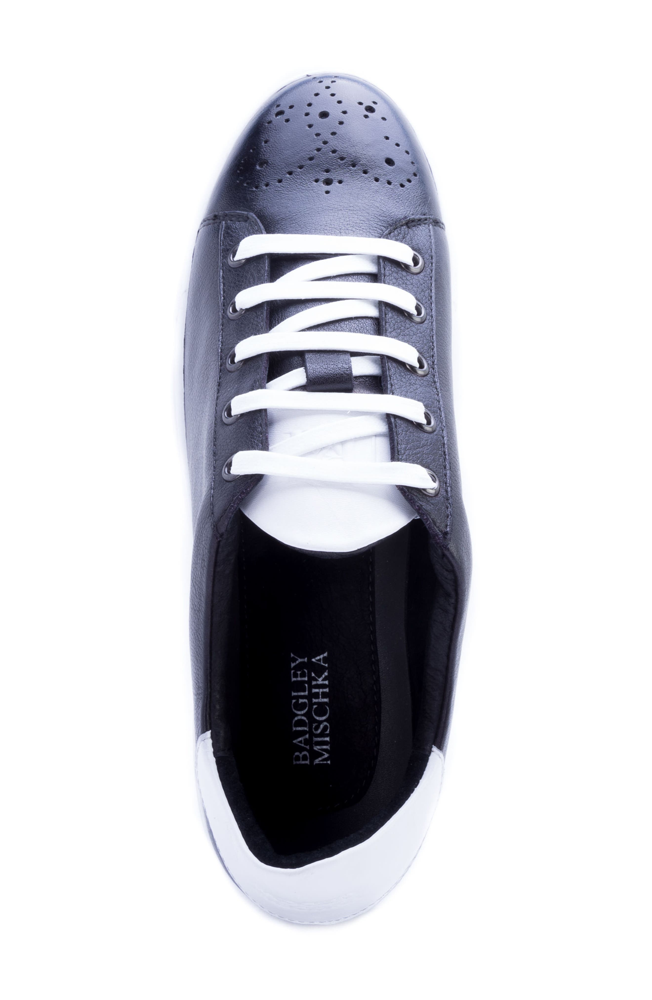 Sinatra Sneaker,                             Alternate thumbnail 5, color,                             BLACK LEATHER