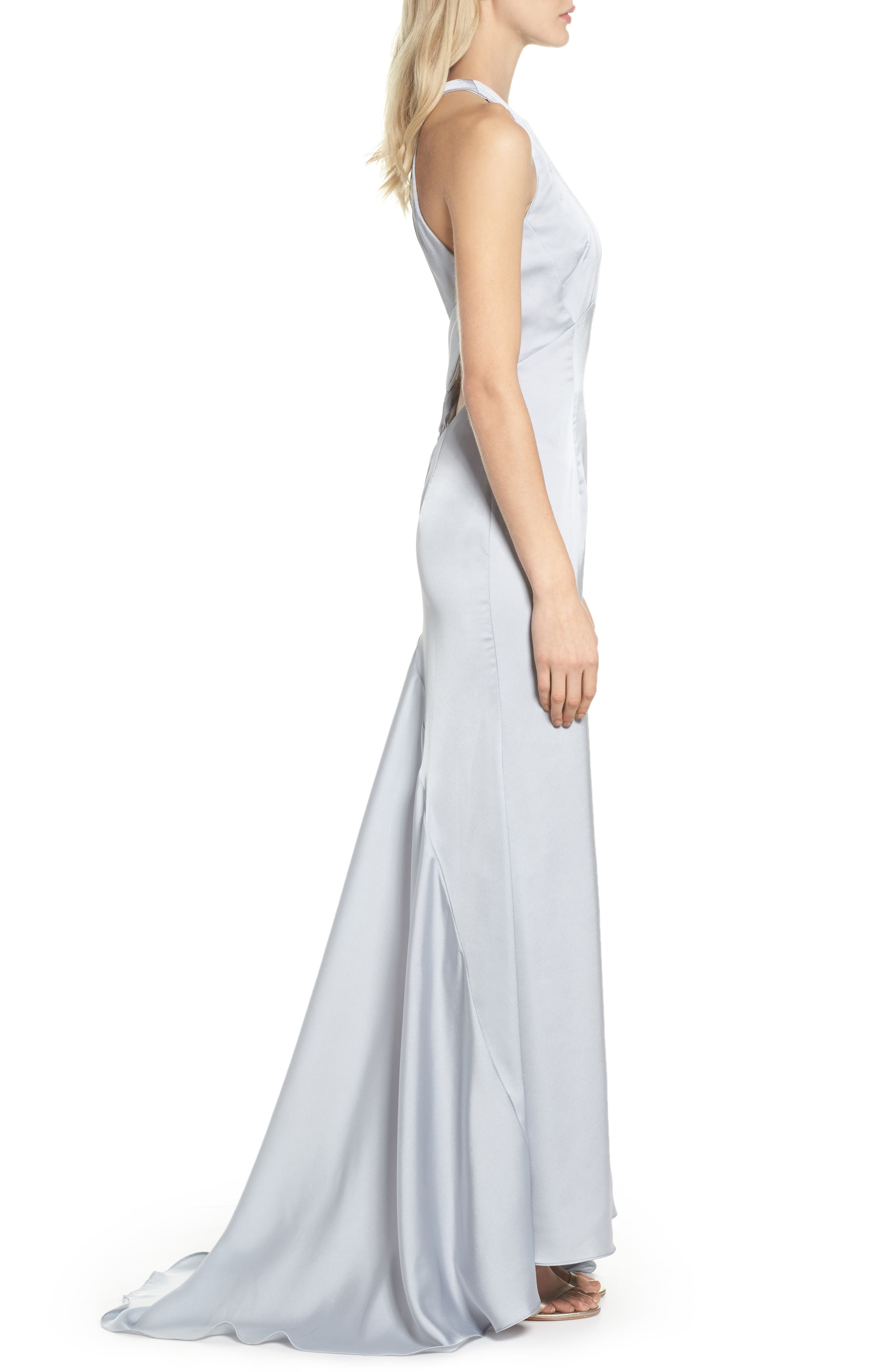 Amara Cross Back Satin Gown,                             Alternate thumbnail 3, color,                             044