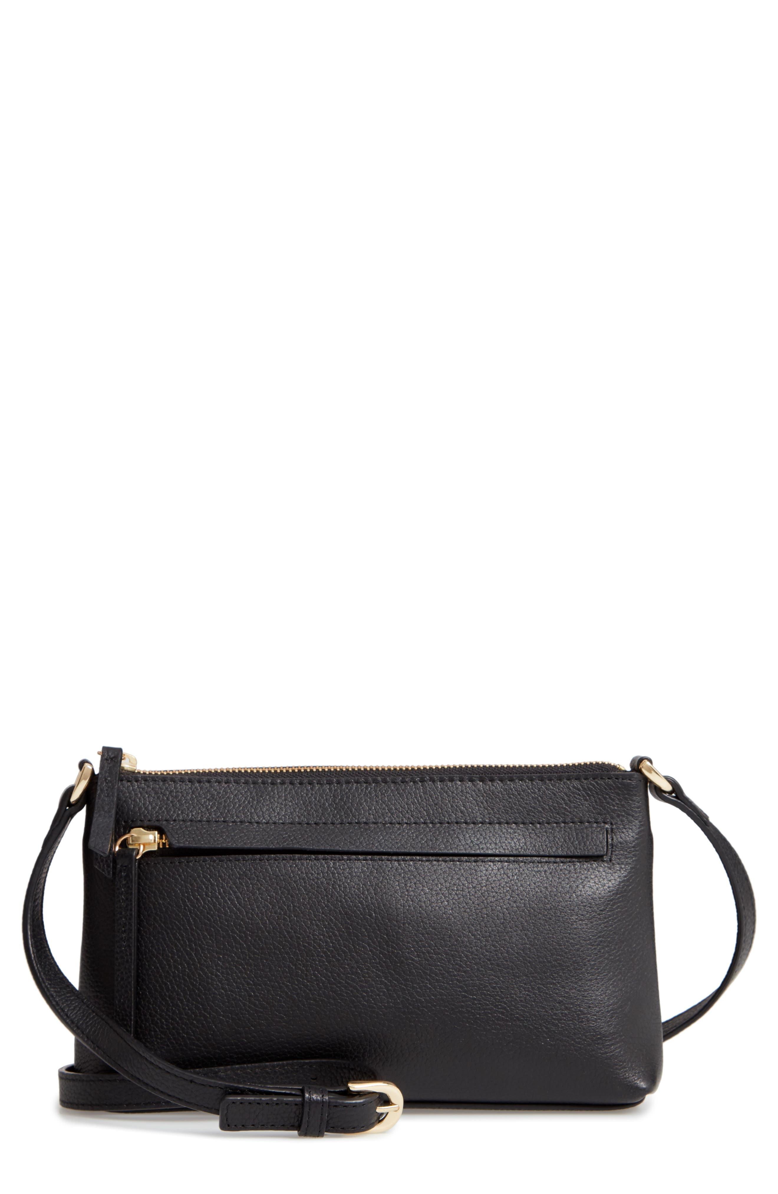 Mya Leather Crossbody Bag,                             Main thumbnail 1, color,                             BLACK