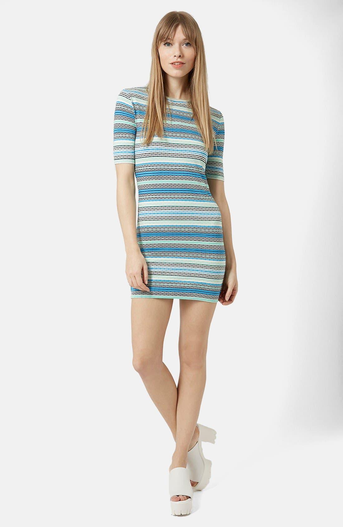 TOPSHOP Jacquard Tunic Dress, Main, color, 400