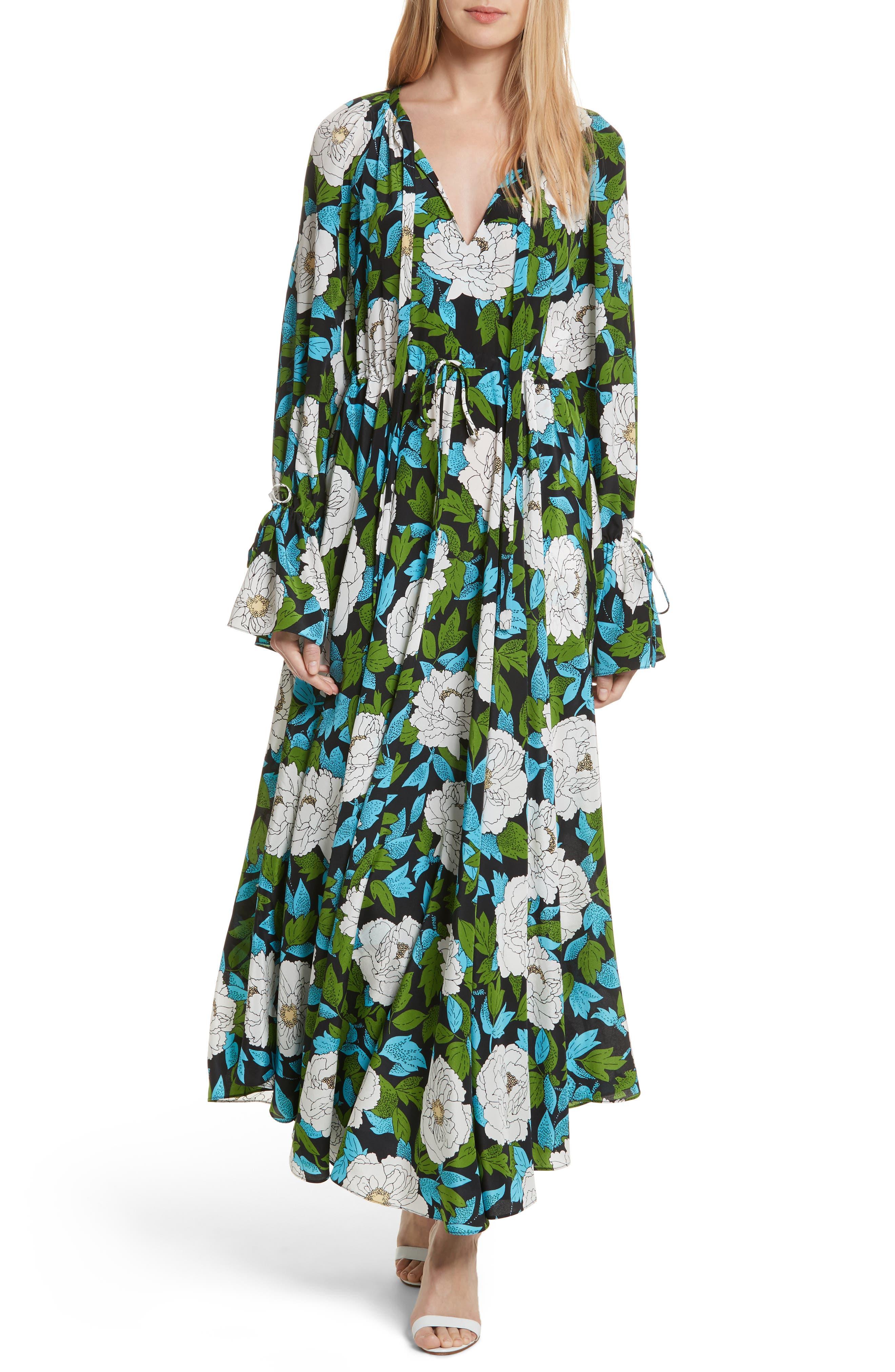 Diane von Furstenberg Floral Silk Maxi Dress,                             Main thumbnail 1, color,                             389