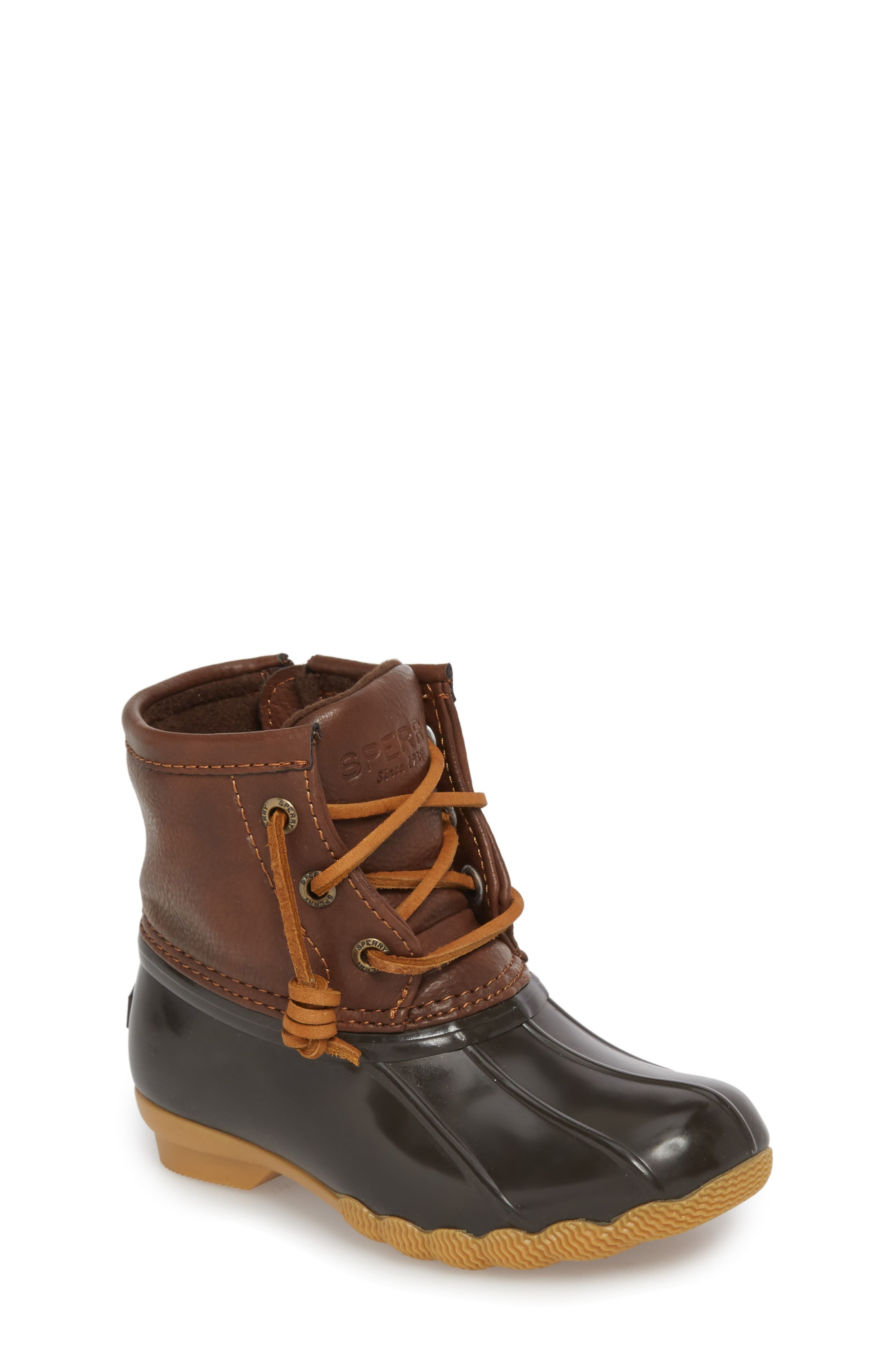 Saltwater Duck Boot,                             Main thumbnail 1, color,                             BROWN/ BROWN