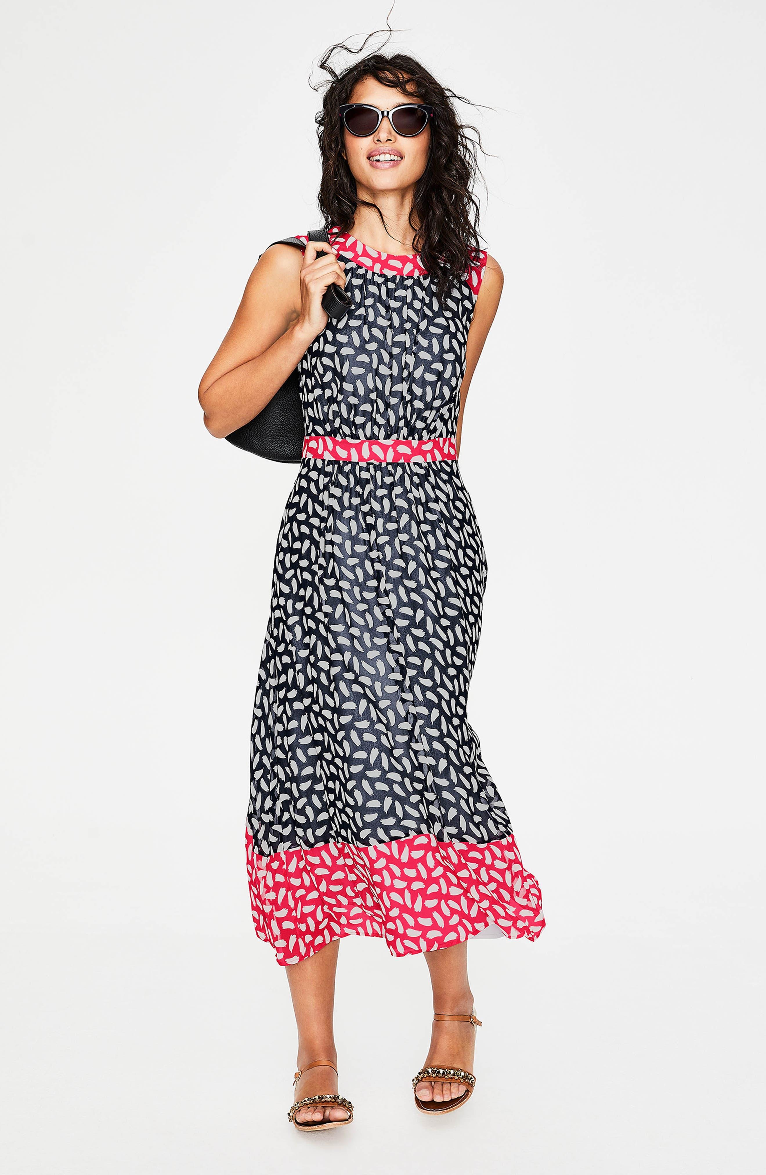 BODEN,                             Sylvie Print Sleeveless Dress,                             Alternate thumbnail 4, color,                             414