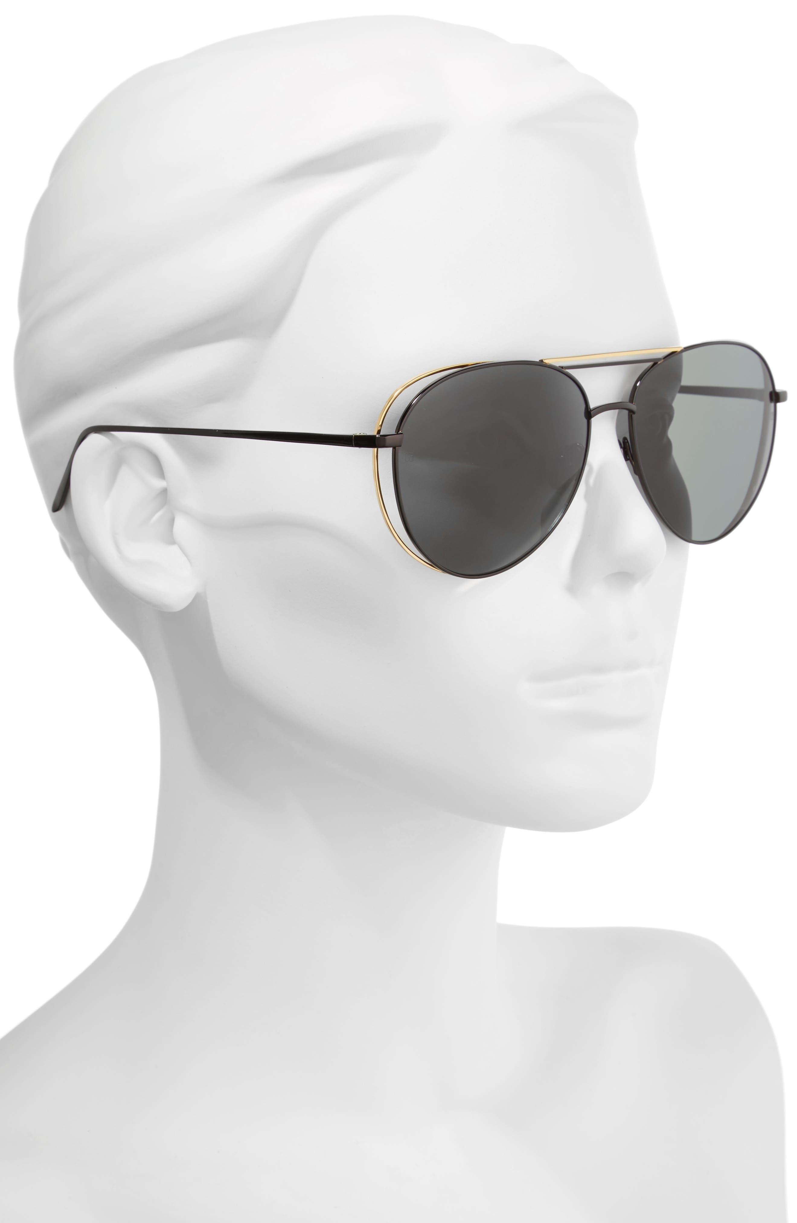 61mm 18 Karat Gold Aviator Sunglasses,                             Alternate thumbnail 4, color,