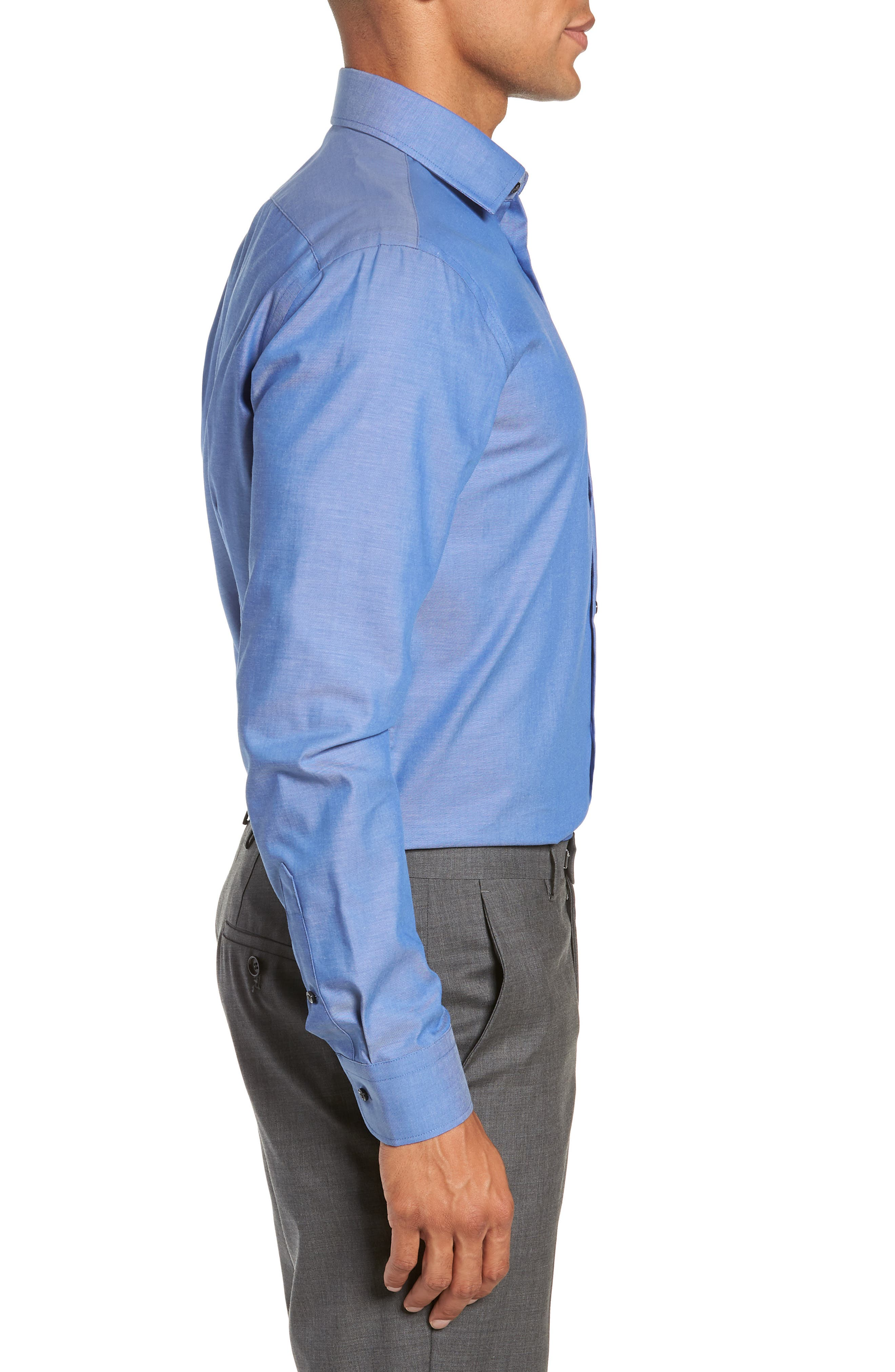 Extra Trim Fit Non-Iron Solid Dress Shirt,                             Alternate thumbnail 4, color,                             BLUE DENIM