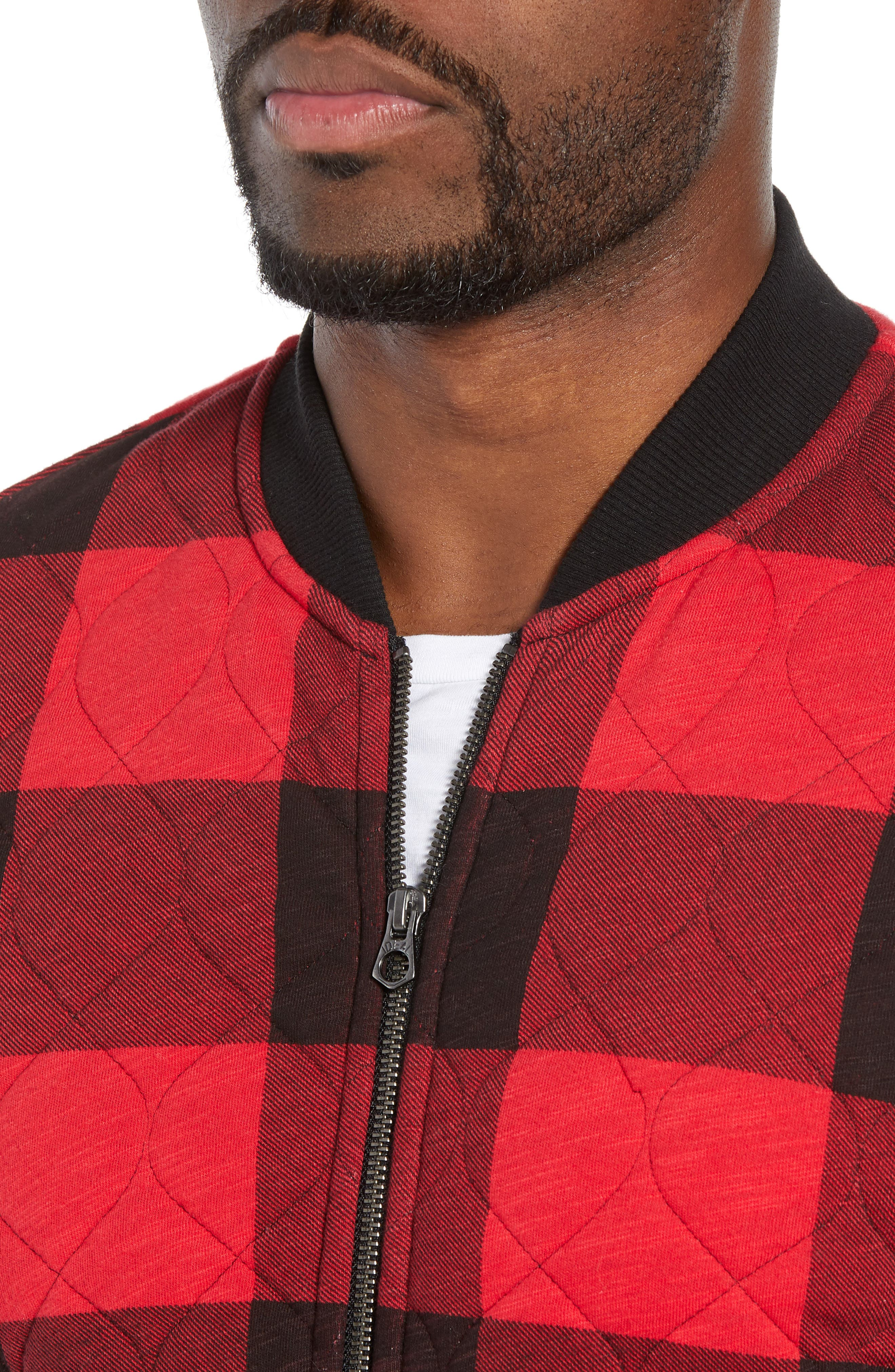 Quilted Bomber Jacket,                             Alternate thumbnail 4, color,                             RED