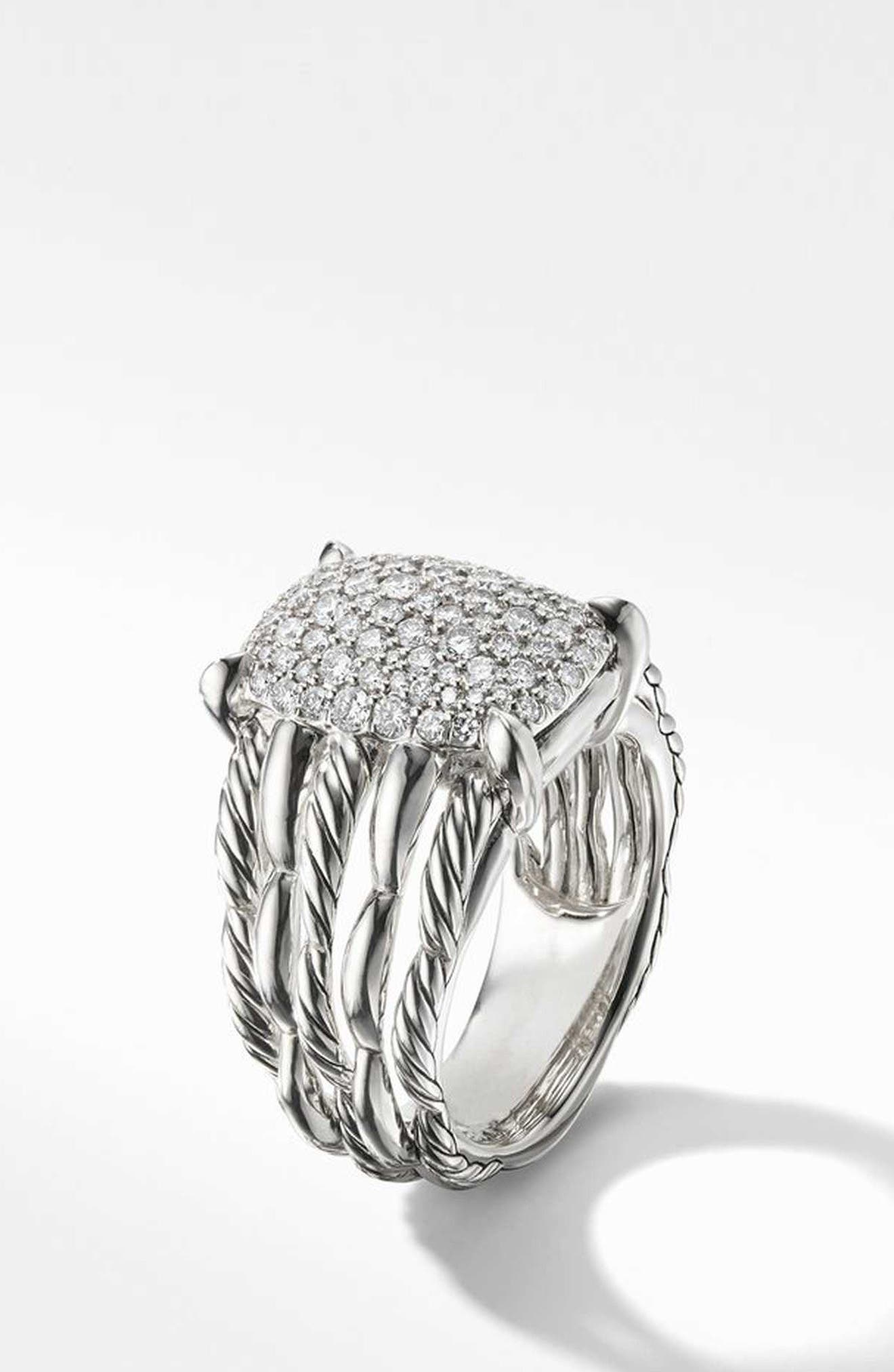 Tides Statement Ring with Pavé Diamond Plate,                             Alternate thumbnail 2, color,                             STERLING SILVER/ DIAMOND