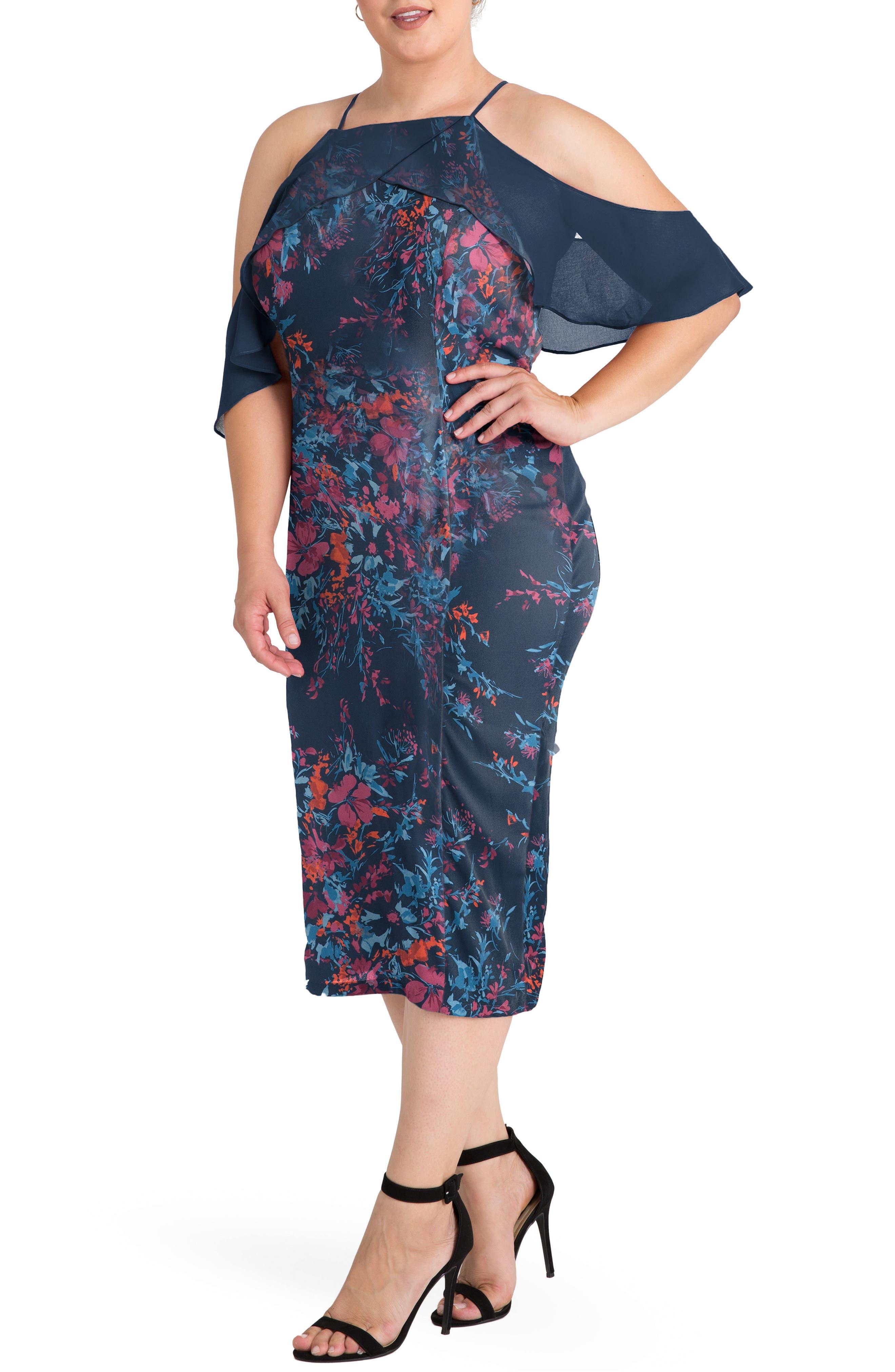 Cold Shoulder Floral Sheath Dress,                             Alternate thumbnail 3, color,                             481