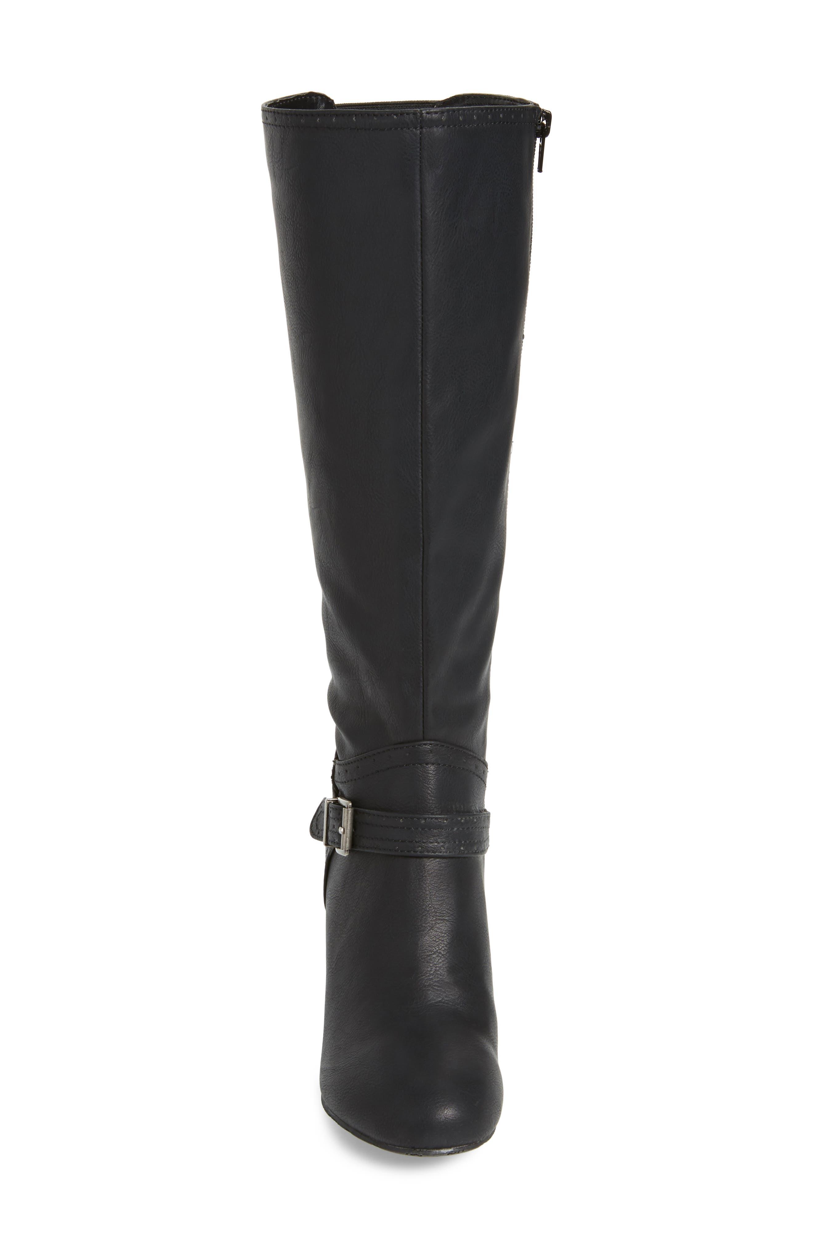 Claretta Knee High Wedge Boot,                             Alternate thumbnail 4, color,                             BLACK VEGAN LEATHER