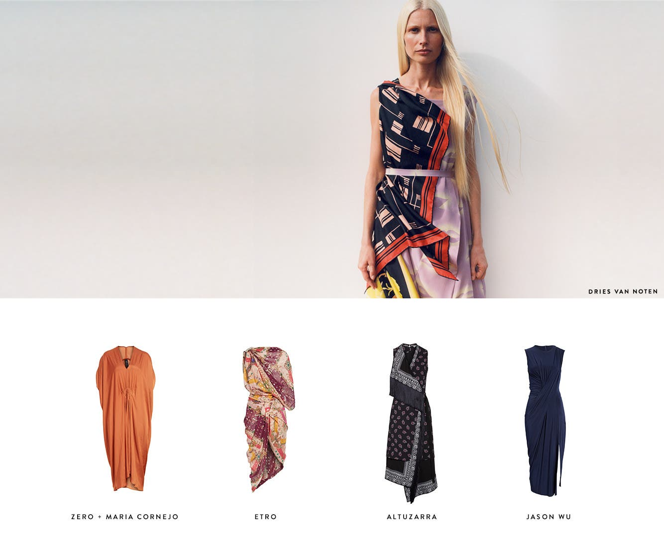 Draped designer dresses from Dries Van Noten and more.