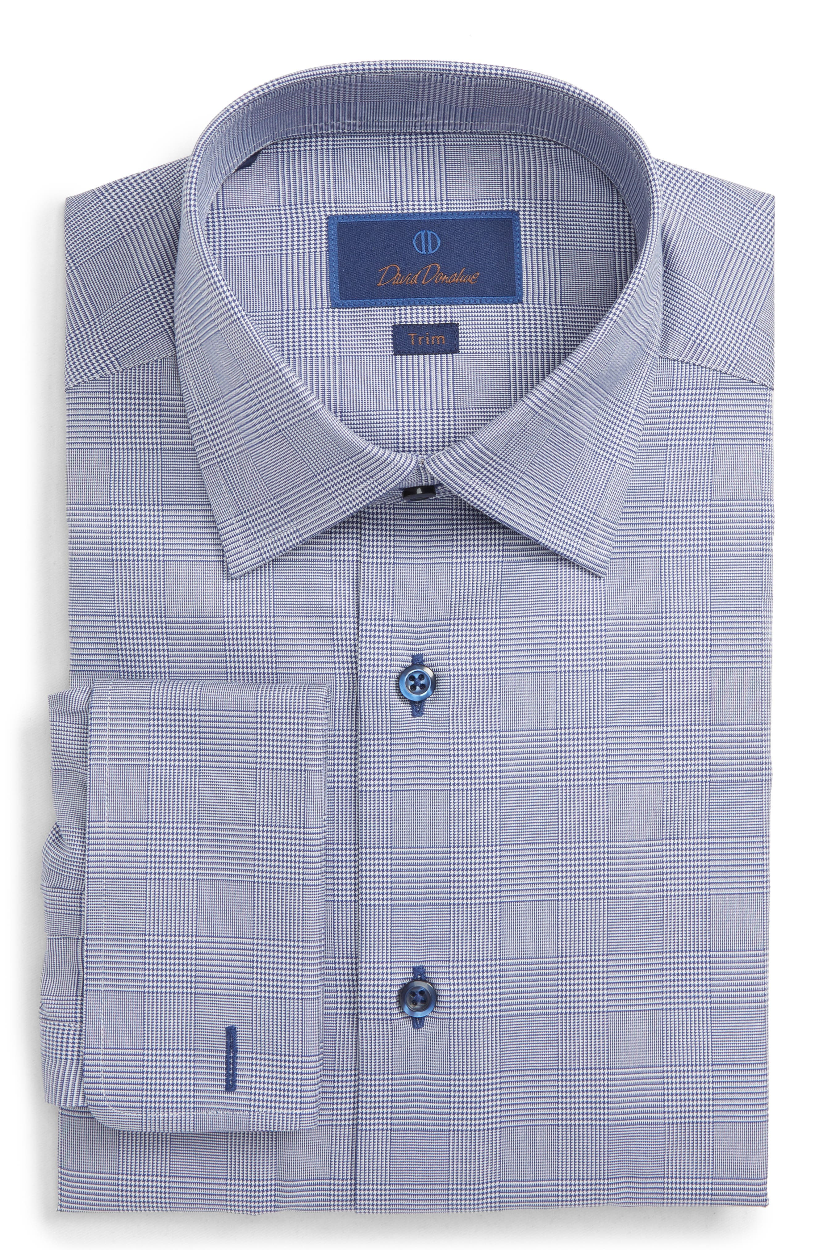 Trim Fit Plaid Dress Shirt,                         Main,                         color, NAVY