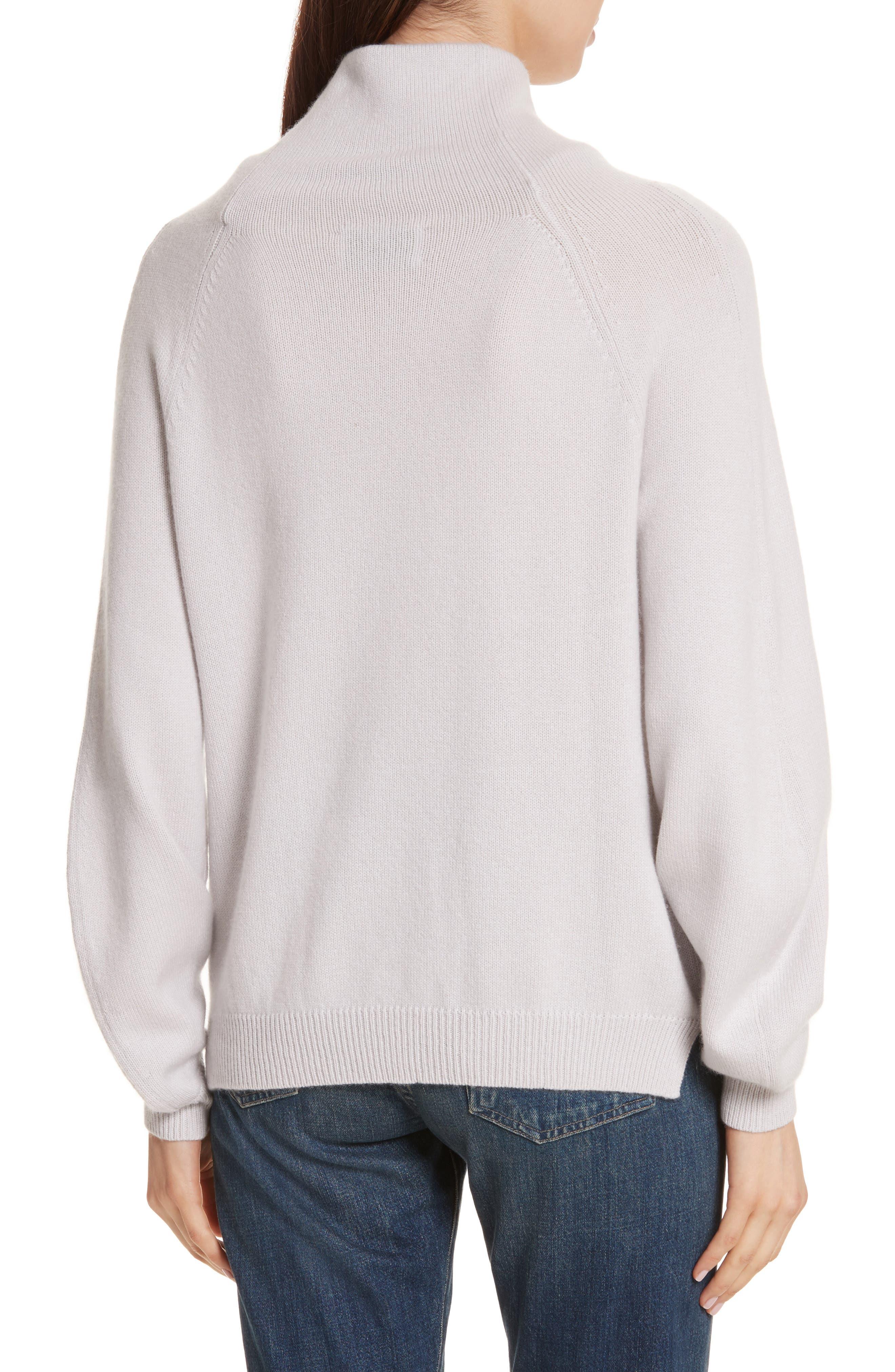 Balloon Sleeve Cashmere Turtleneck Sweater,                             Alternate thumbnail 2, color,                             020