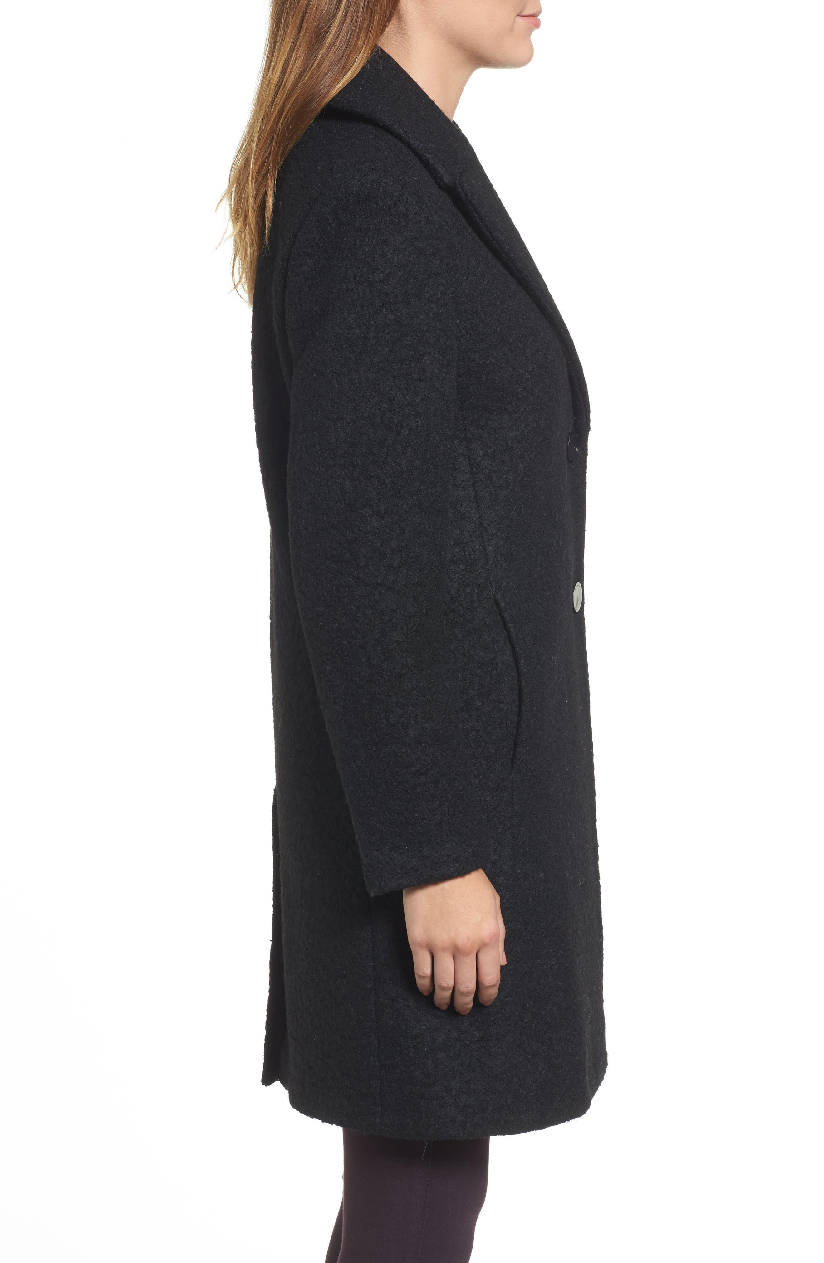'Tessa' Boiled Wool Blend Coat,                             Alternate thumbnail 3, color,                             001