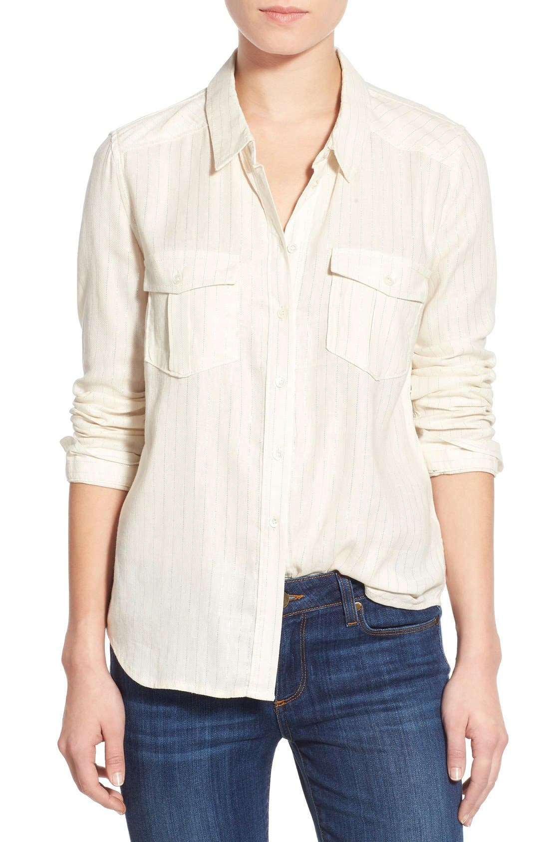 Denim 'Mya' Metallic Stripe Shirt, Main, color, 100