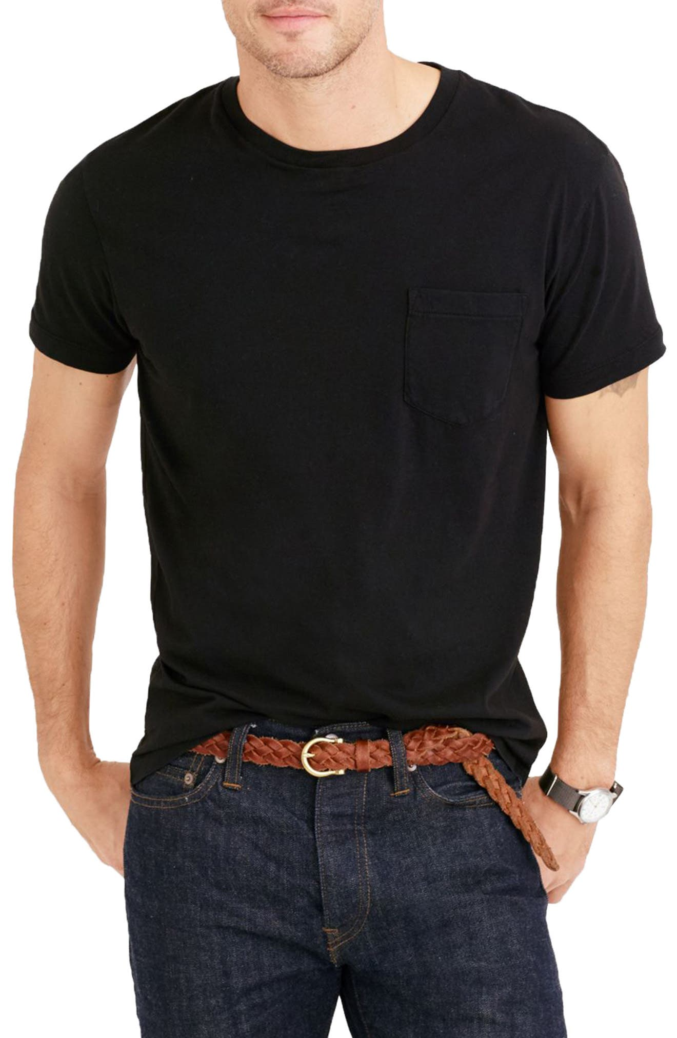 Slim Fit Broken-In Pocket T-Shirt,                         Main,                         color, 001