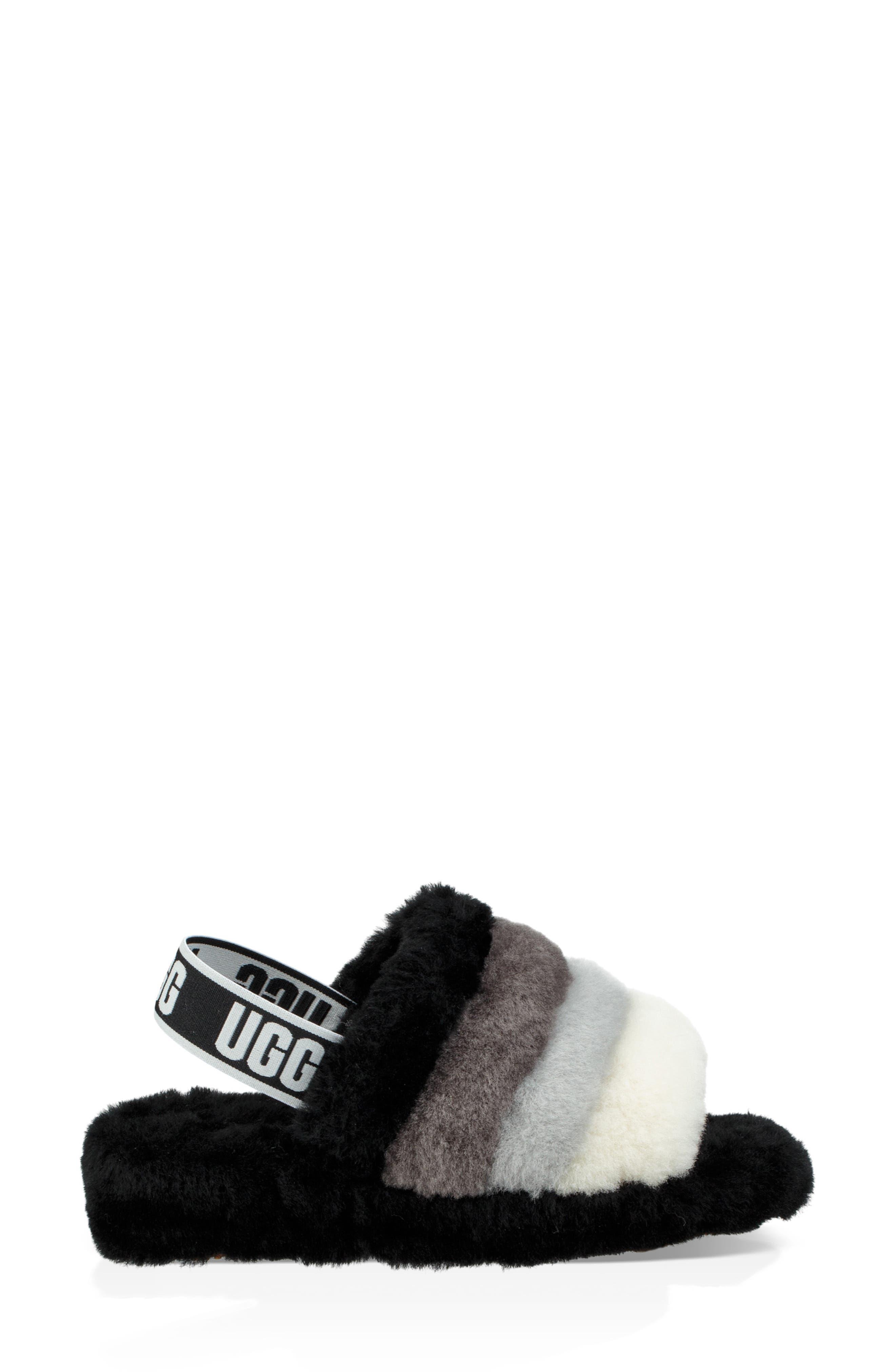 Fluff Yeah Genuine Shearling Slide Slipper,                             Alternate thumbnail 3, color,                             BLACK MULTI