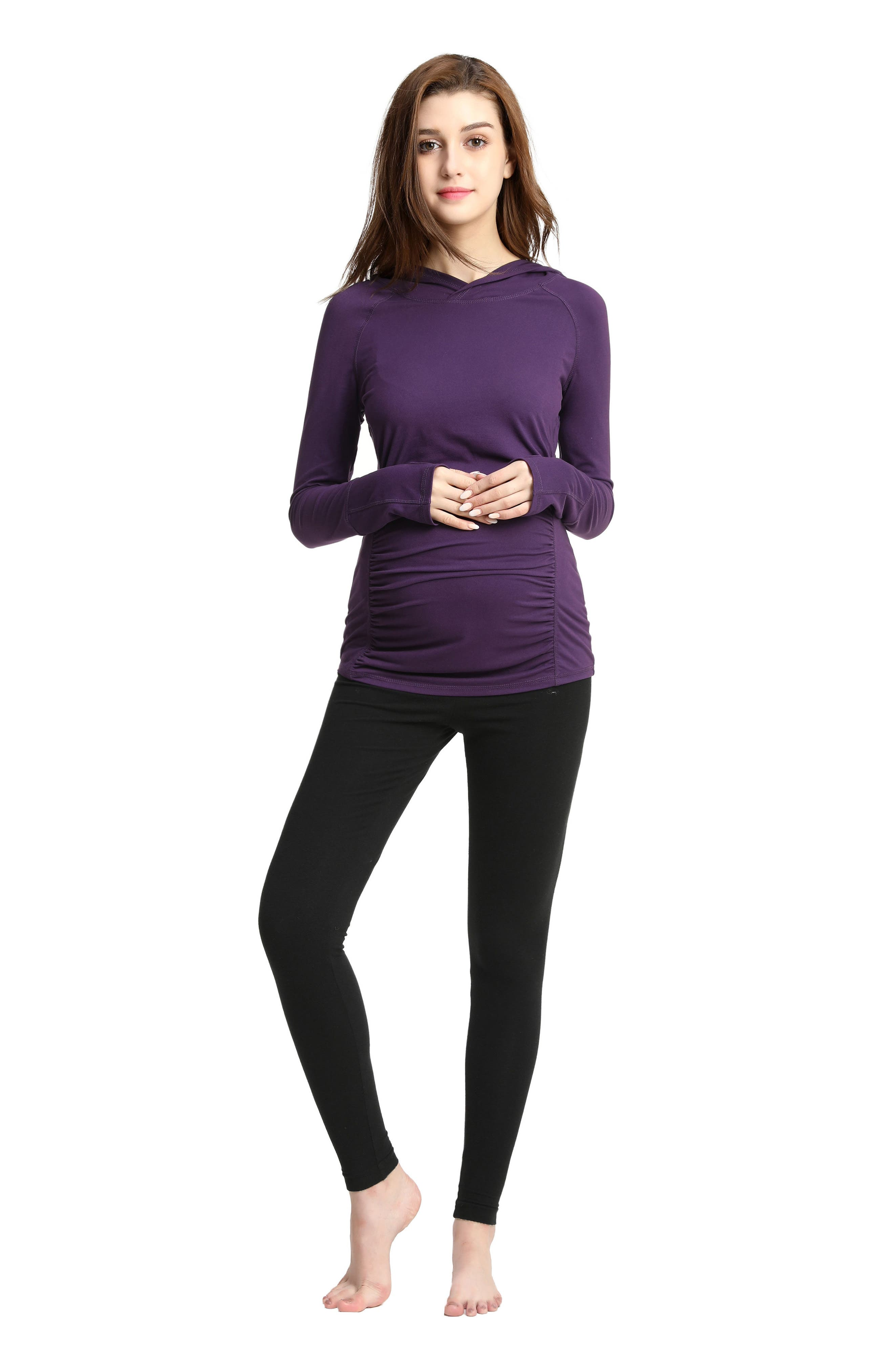 Kimi & Kai Kelly Ruched Maternity Hoodie,                             Alternate thumbnail 5, color,                             500