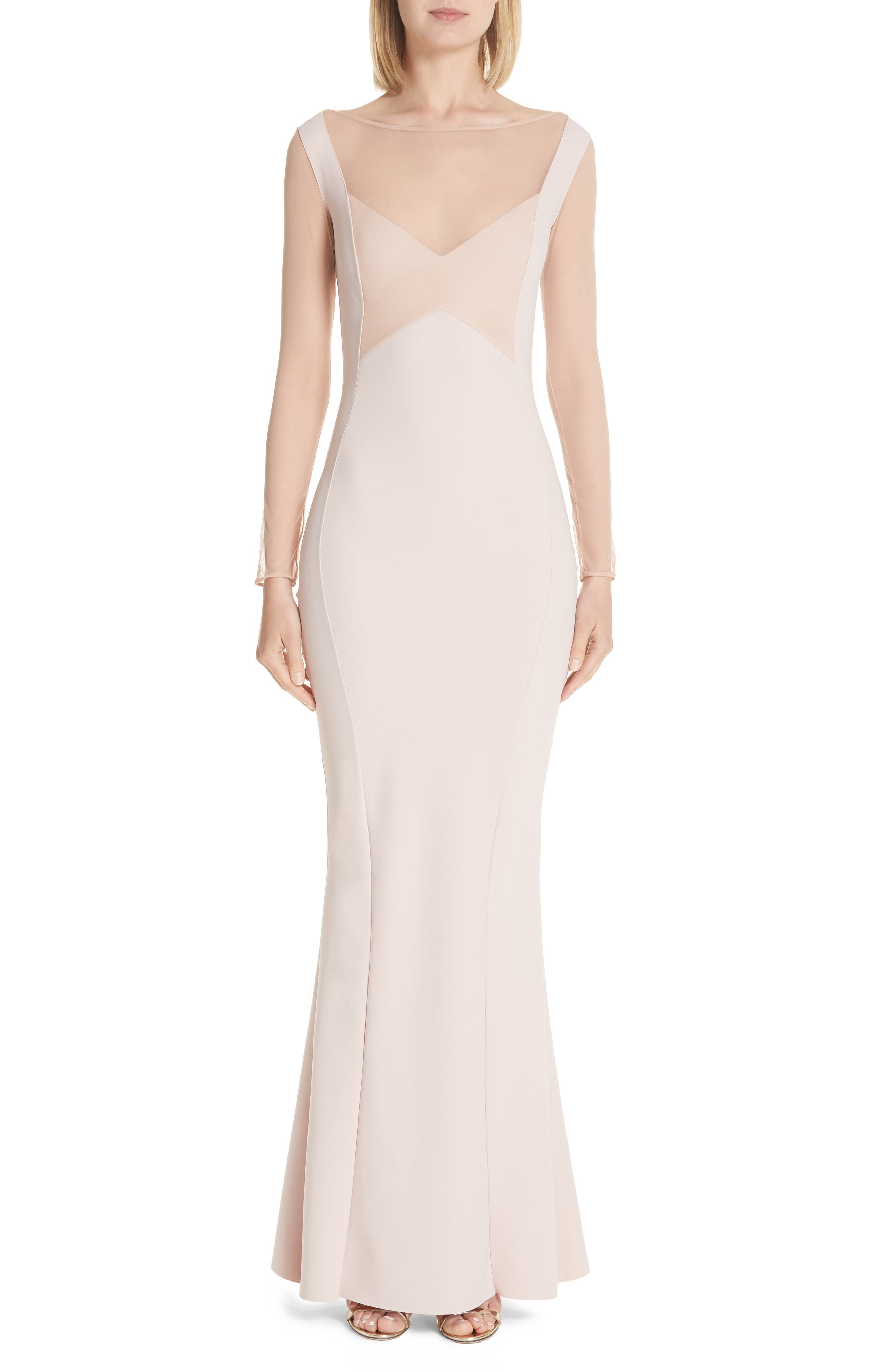 Abros Illusion Trumpet Gown,                             Main thumbnail 1, color,                             NUDE