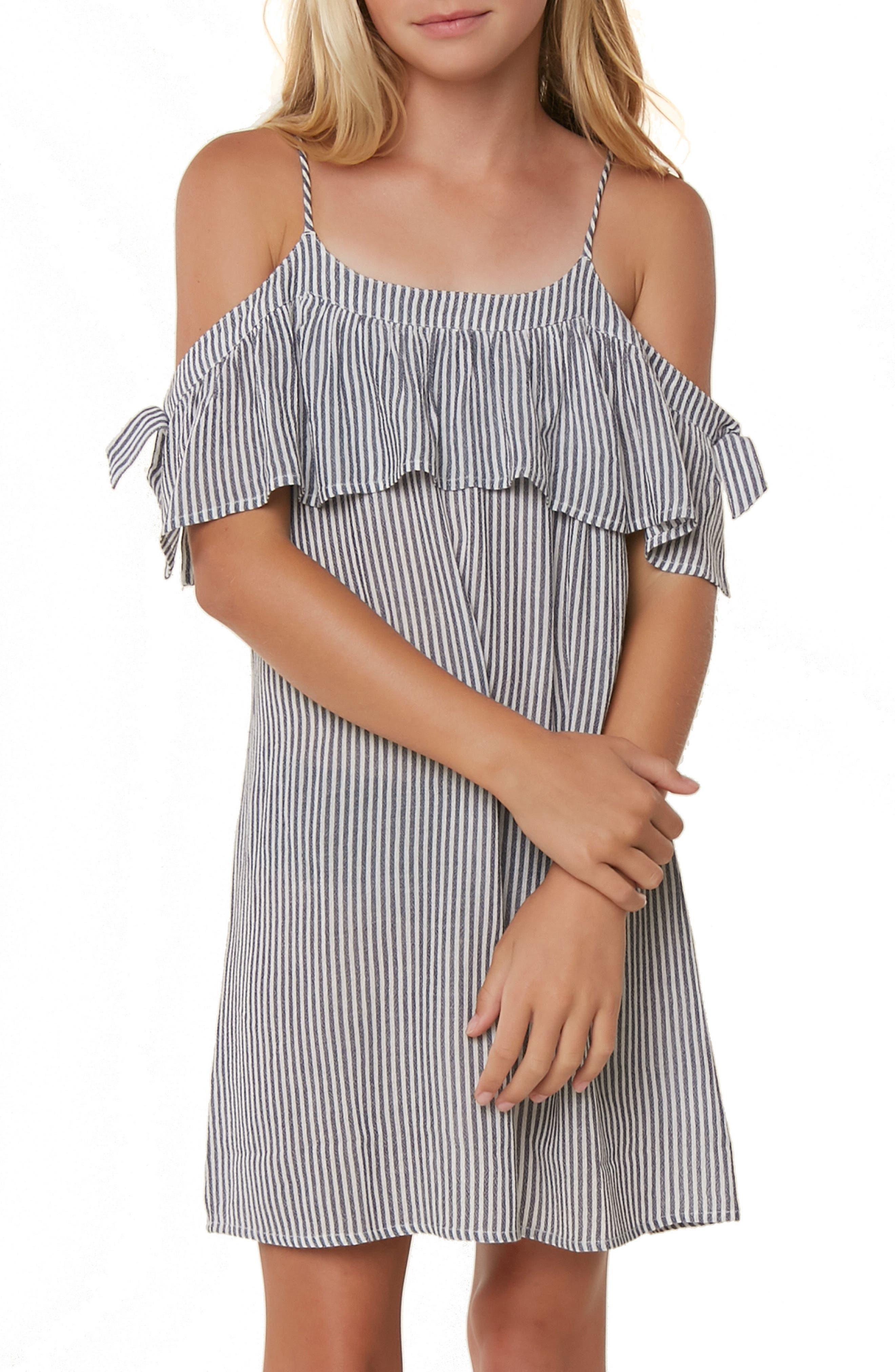 Myla Stripe Cold Shoulder Cover-Up Dress,                             Alternate thumbnail 3, color,                             WASHED INDIGO