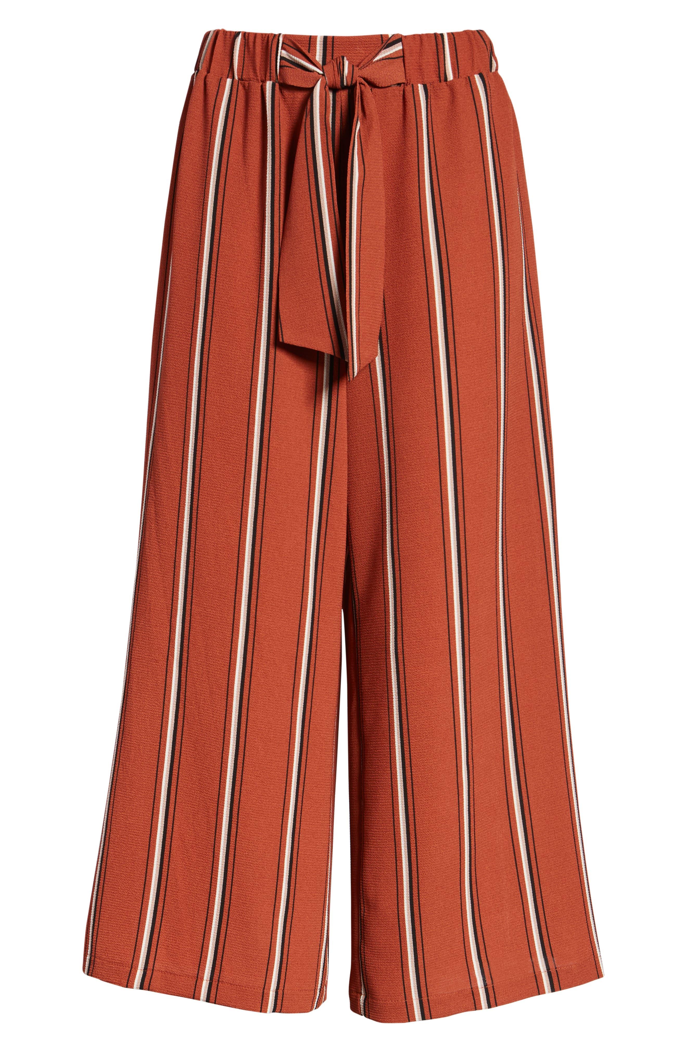 Tie Waist Stripe Wide Leg Crop Pants,                             Alternate thumbnail 7, color,                             RUST