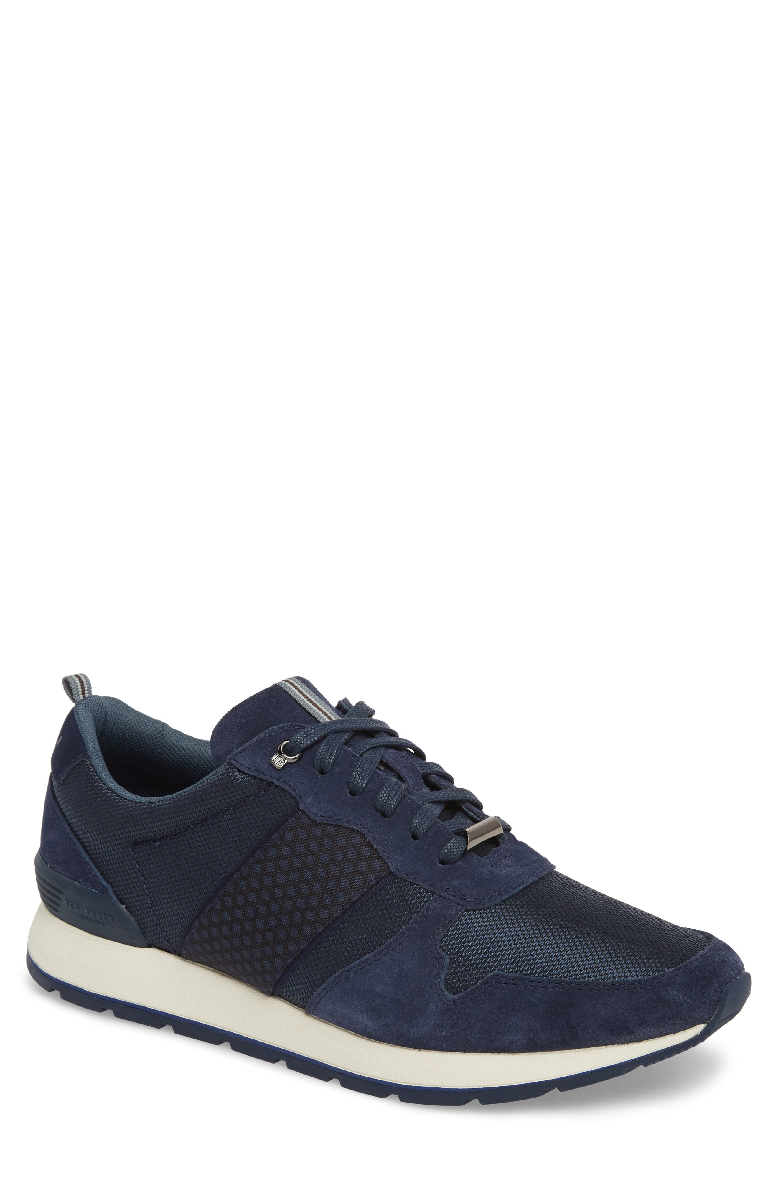 Hebey Lace-Up Sneaker,                         Main,                         color, DARK BLUE TEXTILE
