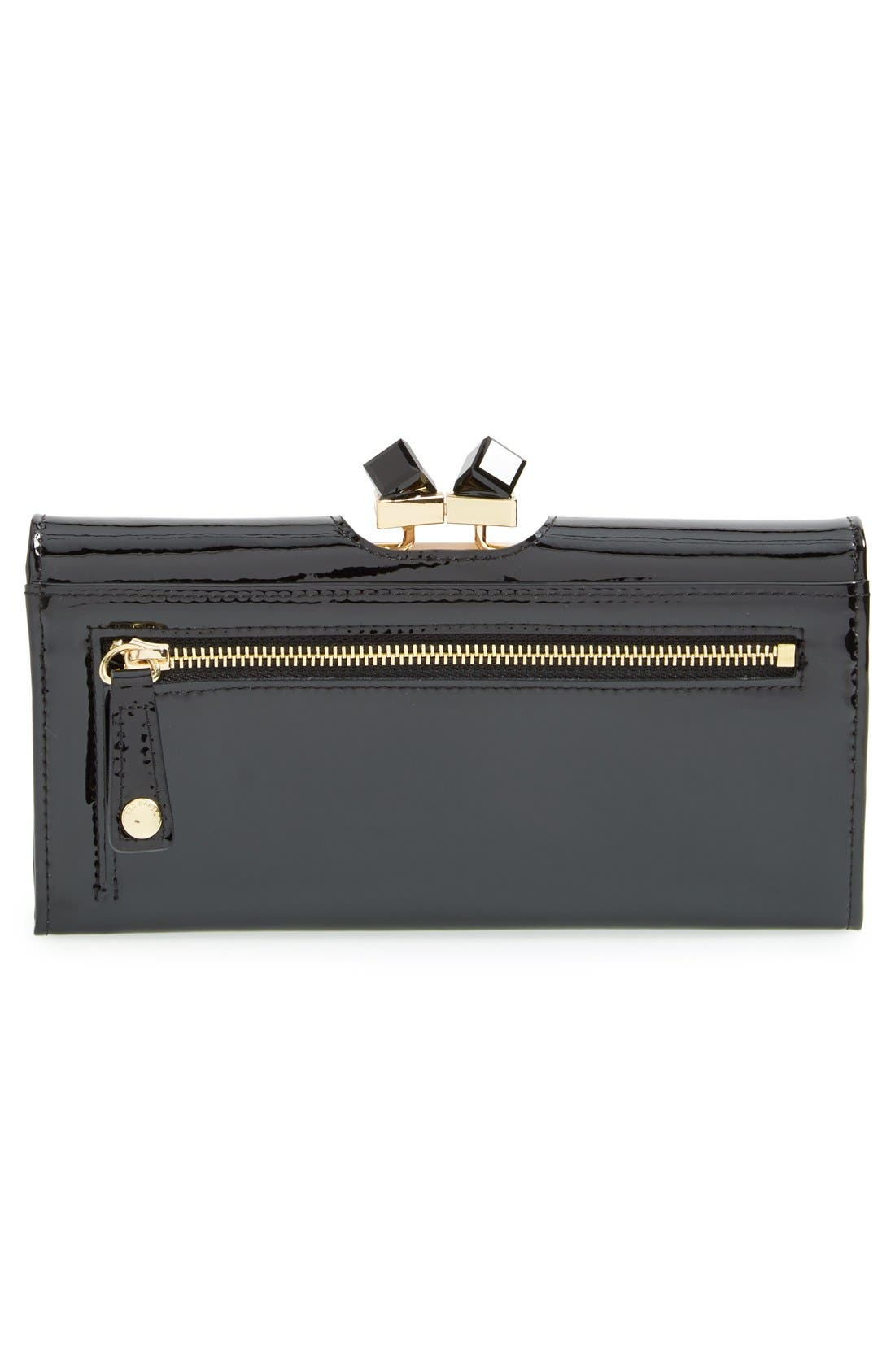 TED BAKER LONDON,                             'Crystal Frame' Patent Leather Matinee Wallet,                             Alternate thumbnail 5, color,                             001