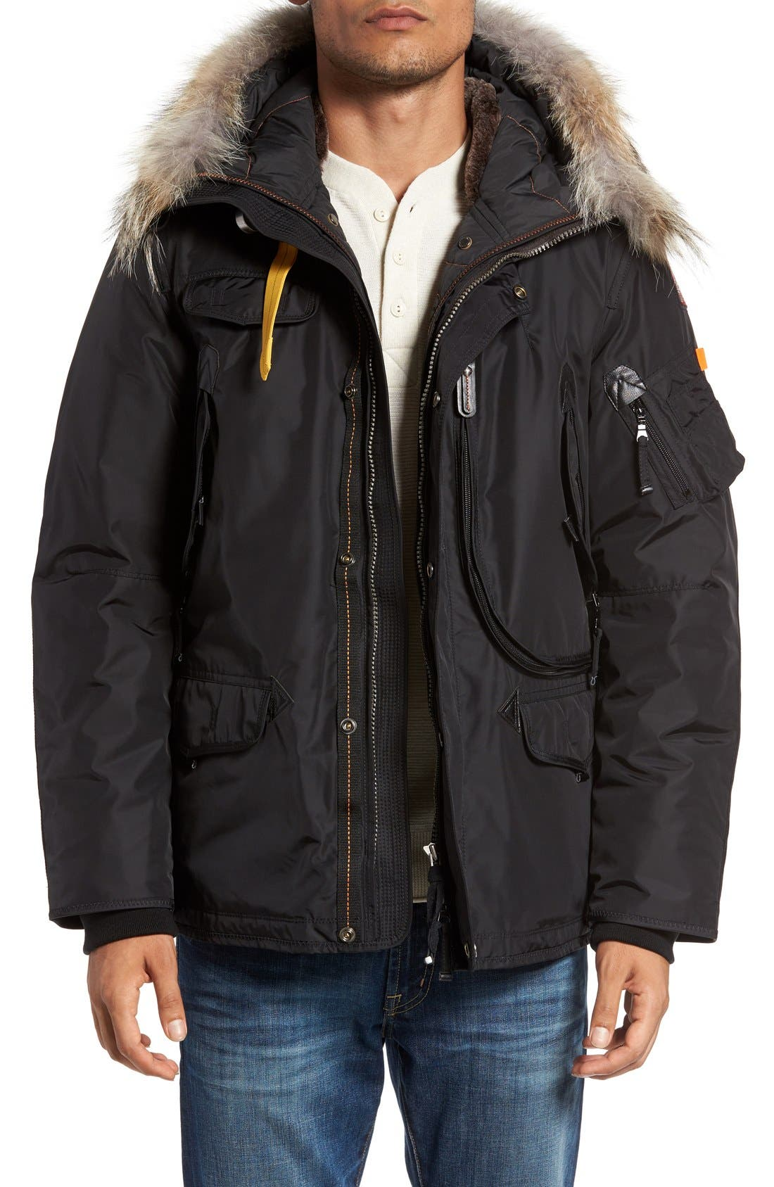 'Right Hand' Water Repellent Down Jacket with Faux Fur & Genuine Coyote Fur Trim, Main, color, 001