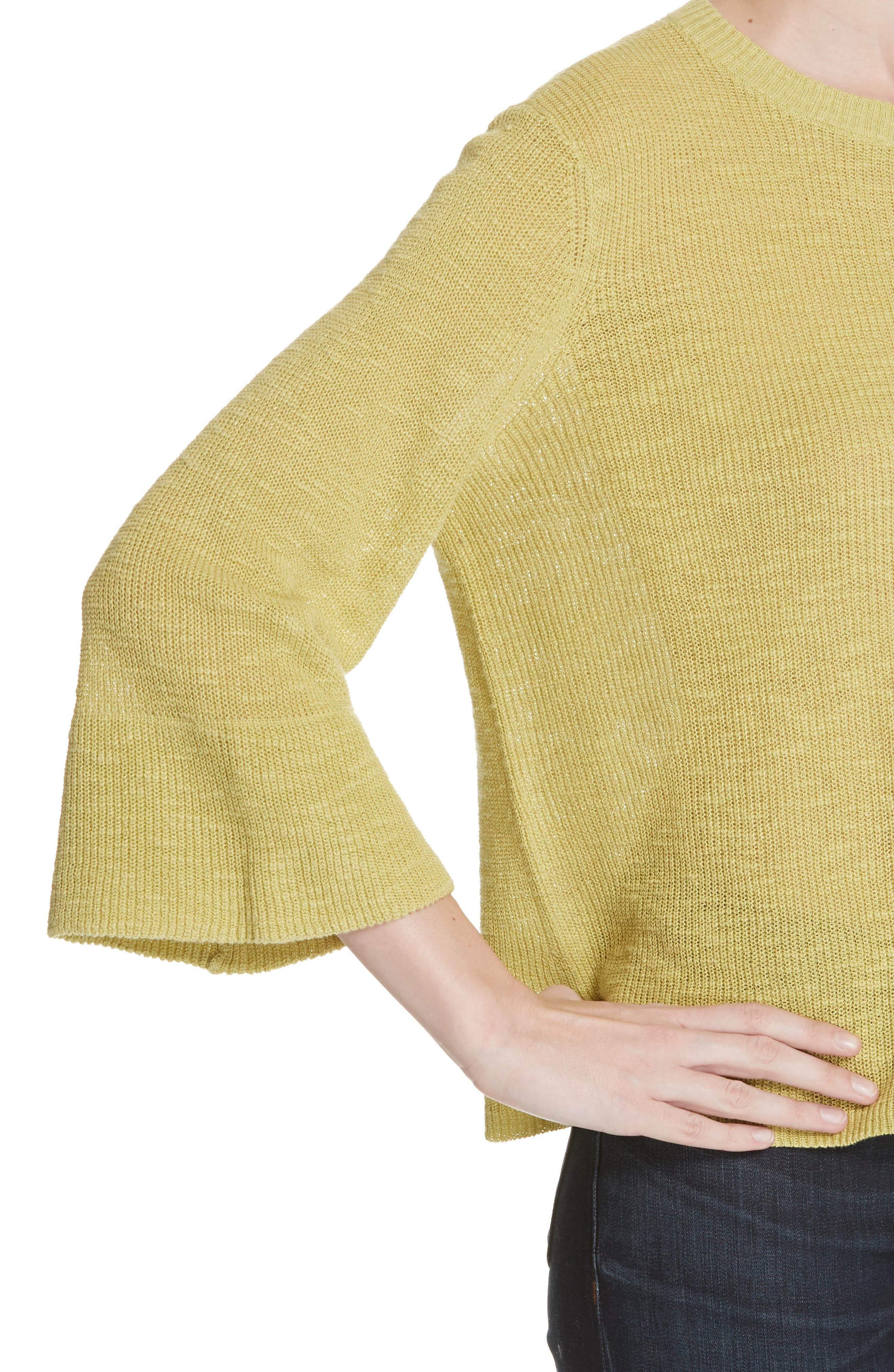 Linen & Cotton Sweater,                             Alternate thumbnail 4, color,                             VERBENA