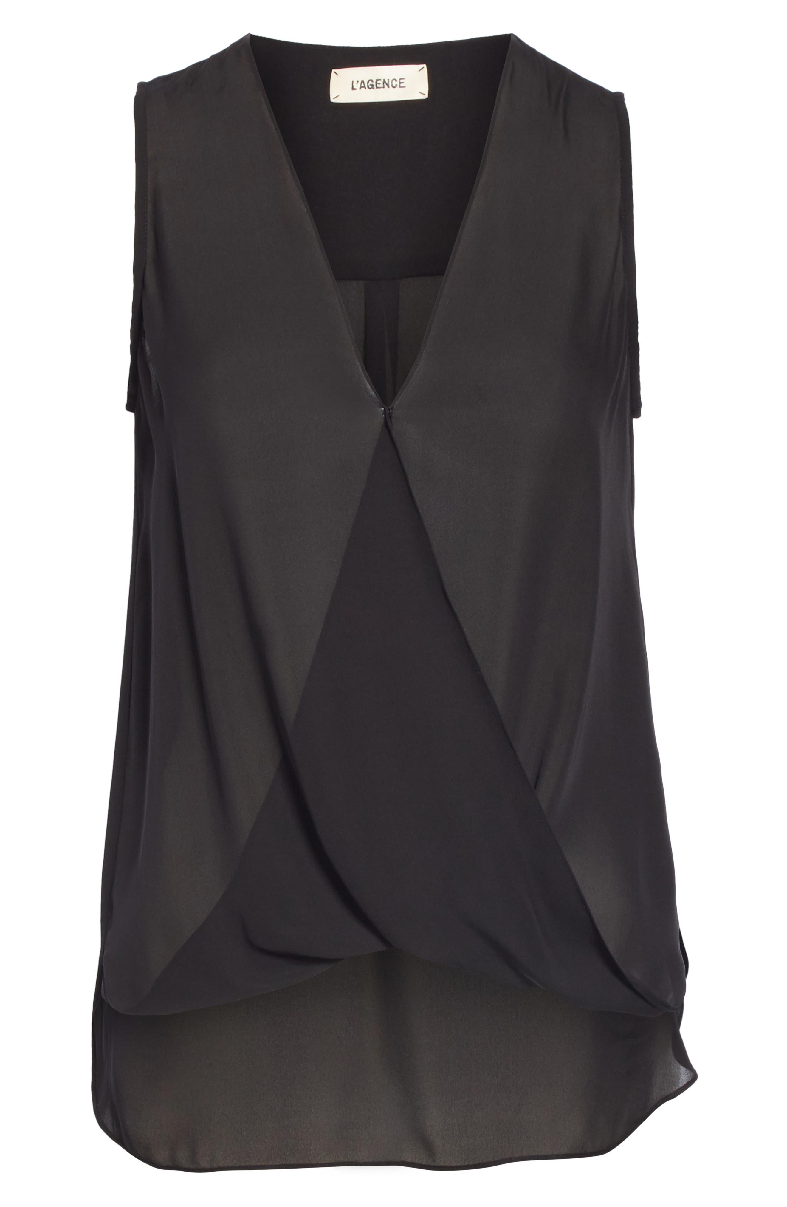 Mila Draped Silk Surplice Blouse,                             Alternate thumbnail 6, color,                             BLACK