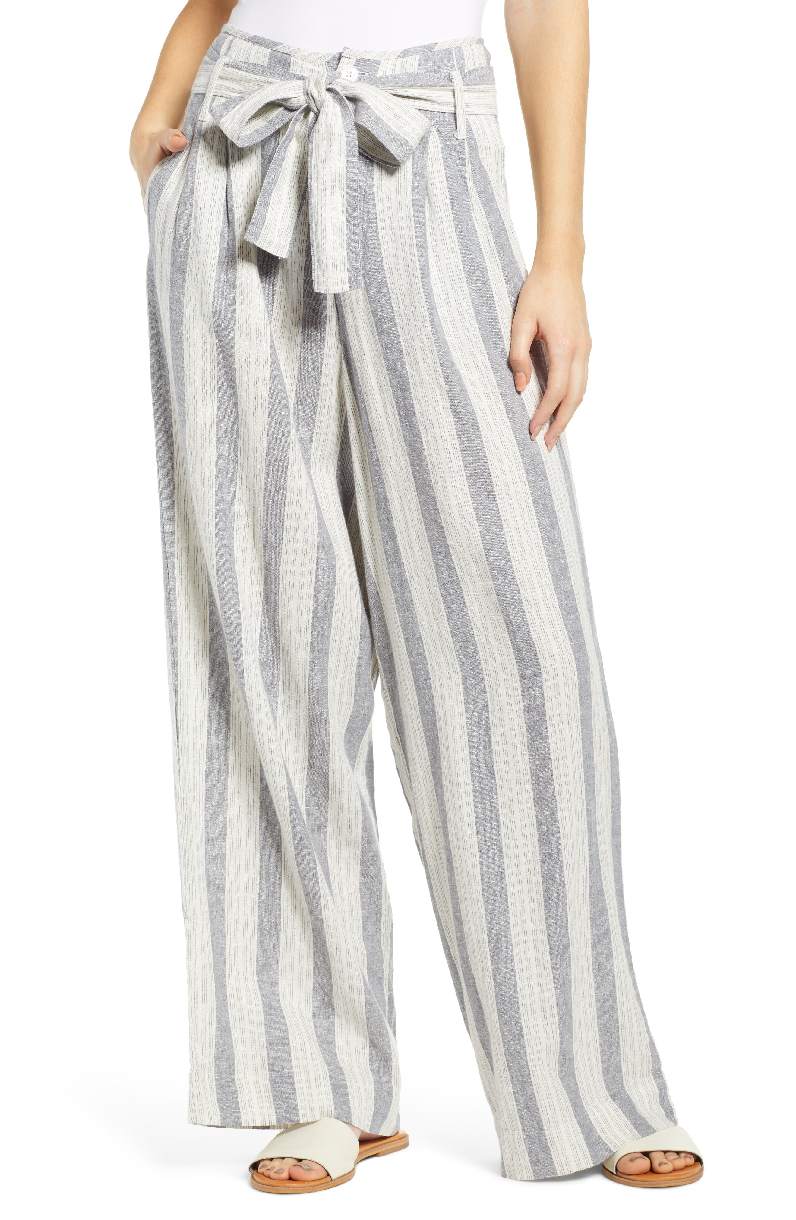 Rails Jess Linen Blend Paperbag Waist Pants, Blue