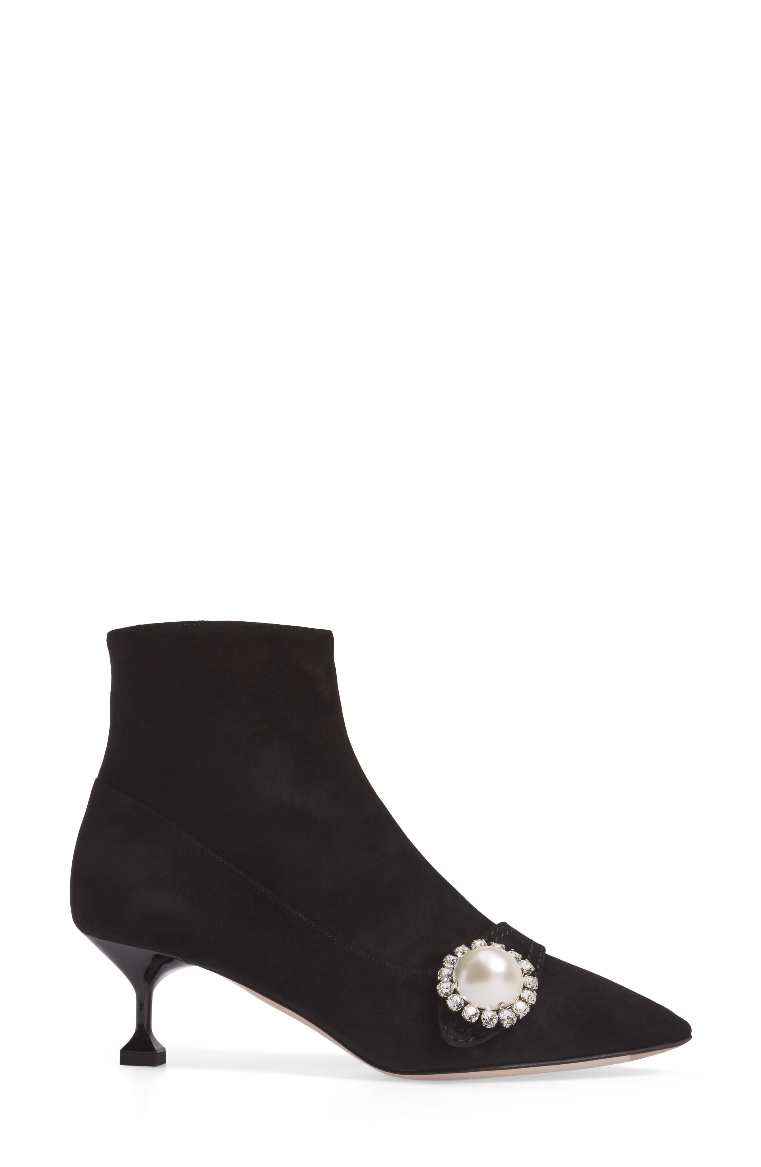 Embellished Pointy Toe Bootie,                             Alternate thumbnail 3, color,                             001