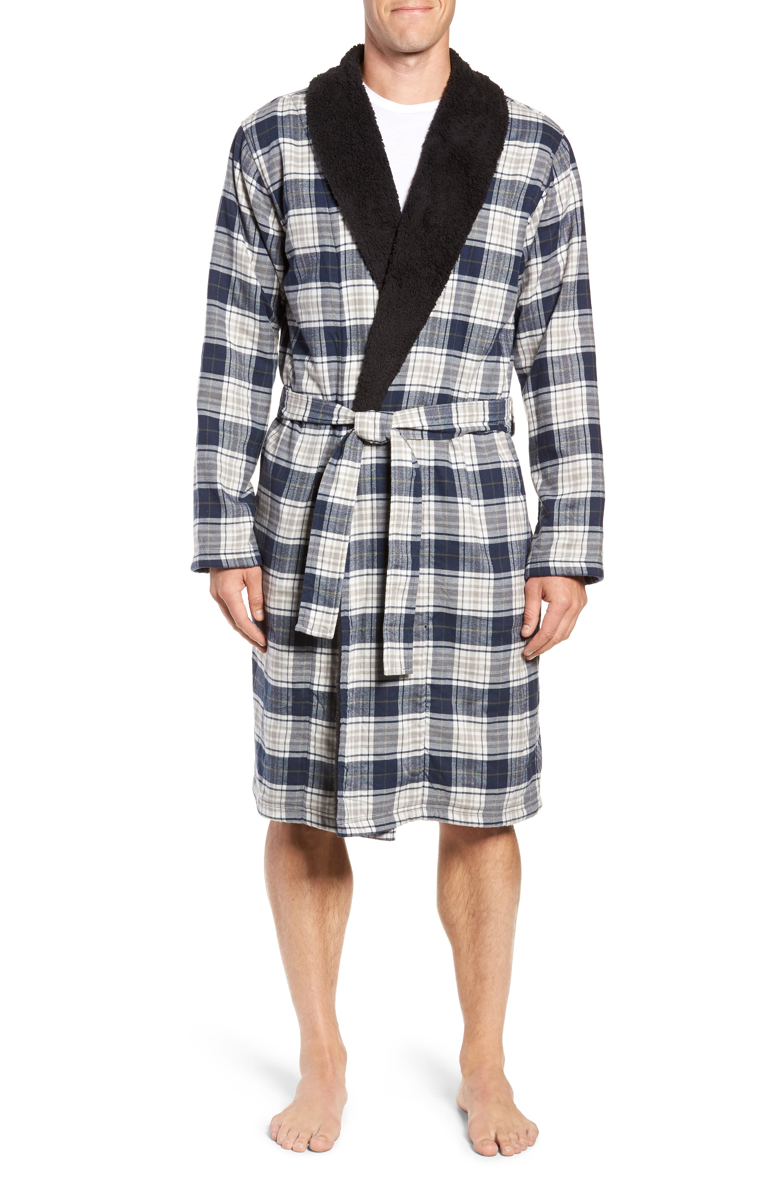 Men'S Kalib Sherpa-Lined Plaid Robe in Navy Plaid