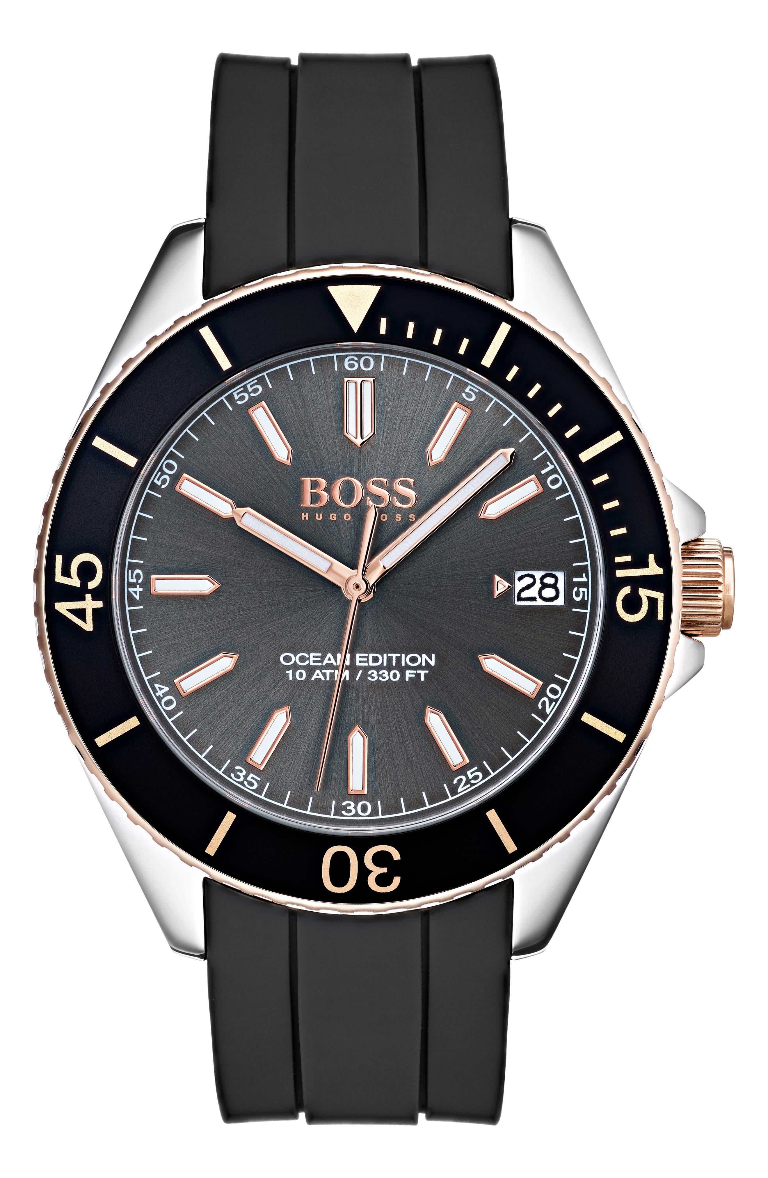 Ocean Rubber Strap Watch, 40mm,                         Main,                         color, GREY/ BLACK