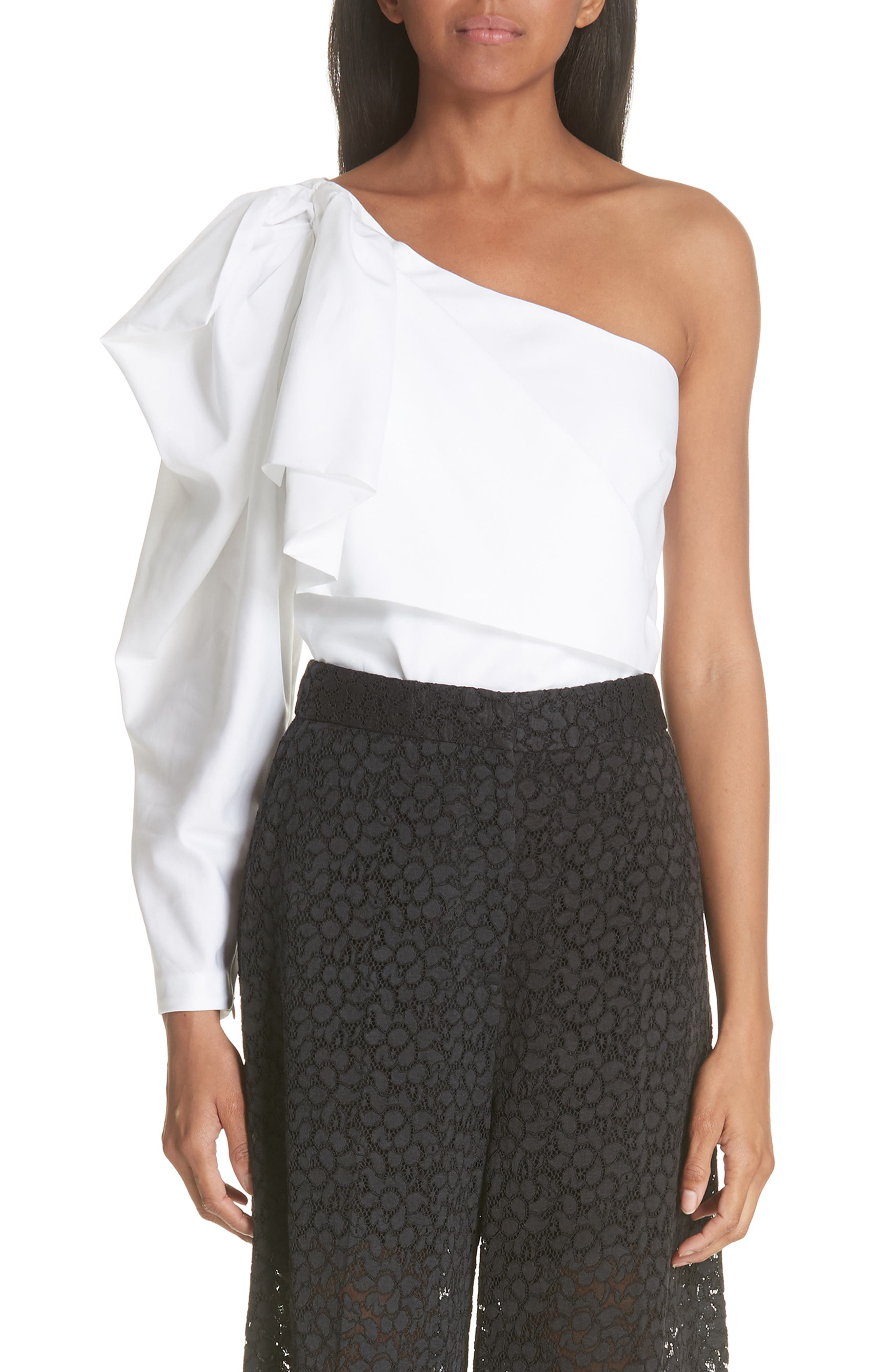 Ruffle One-Shoulder Blouse,                         Main,                         color, PURE WHITE