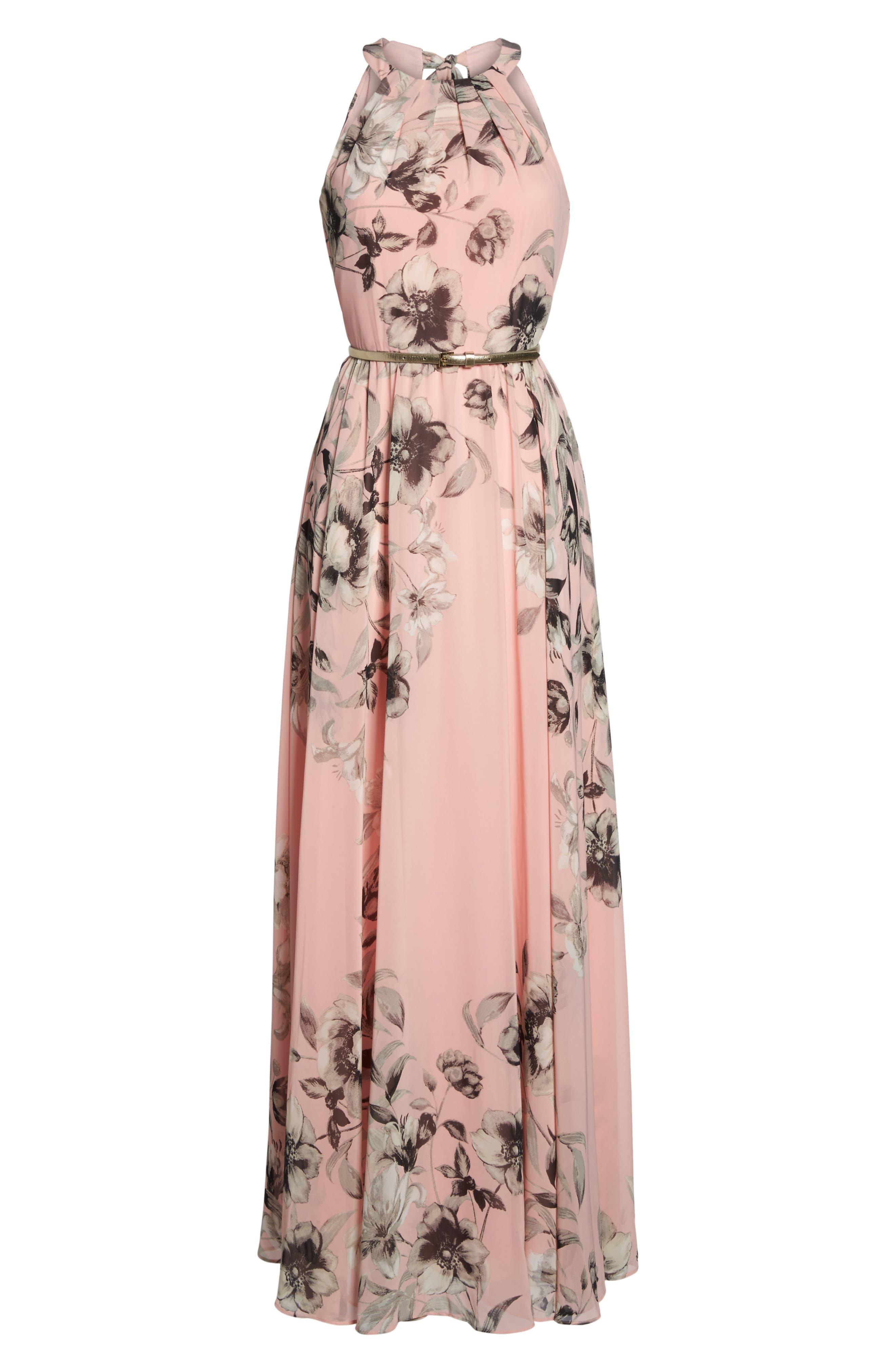 Belted Chiffon Maxi Dress,                             Alternate thumbnail 9, color,                             PINK MULTI