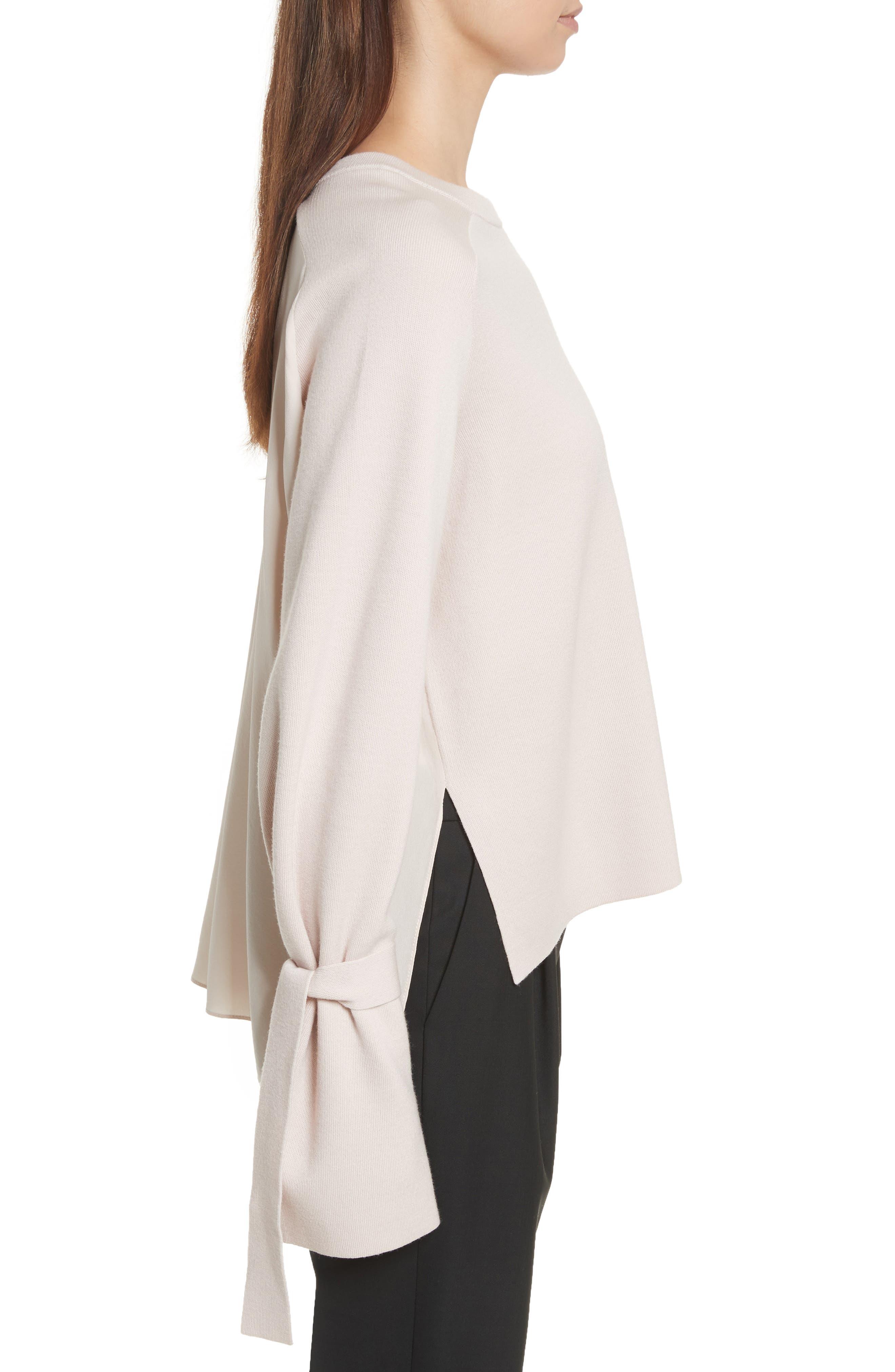 Merino Wool & Silk Bell Sleeve Pullover,                             Alternate thumbnail 6, color,