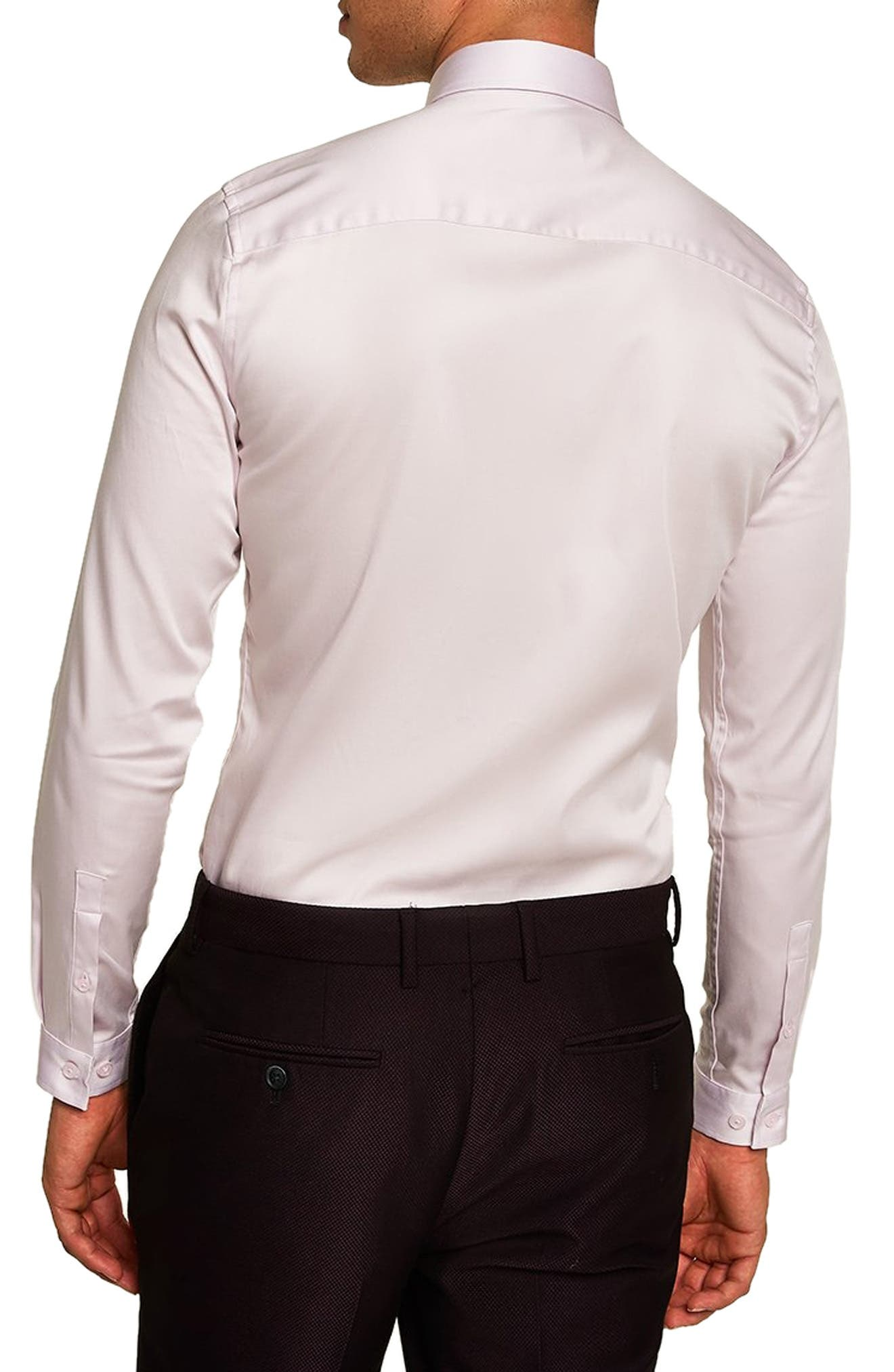Satin Stretch Classic Fit Shirt,                             Alternate thumbnail 2, color,                             PURPLE