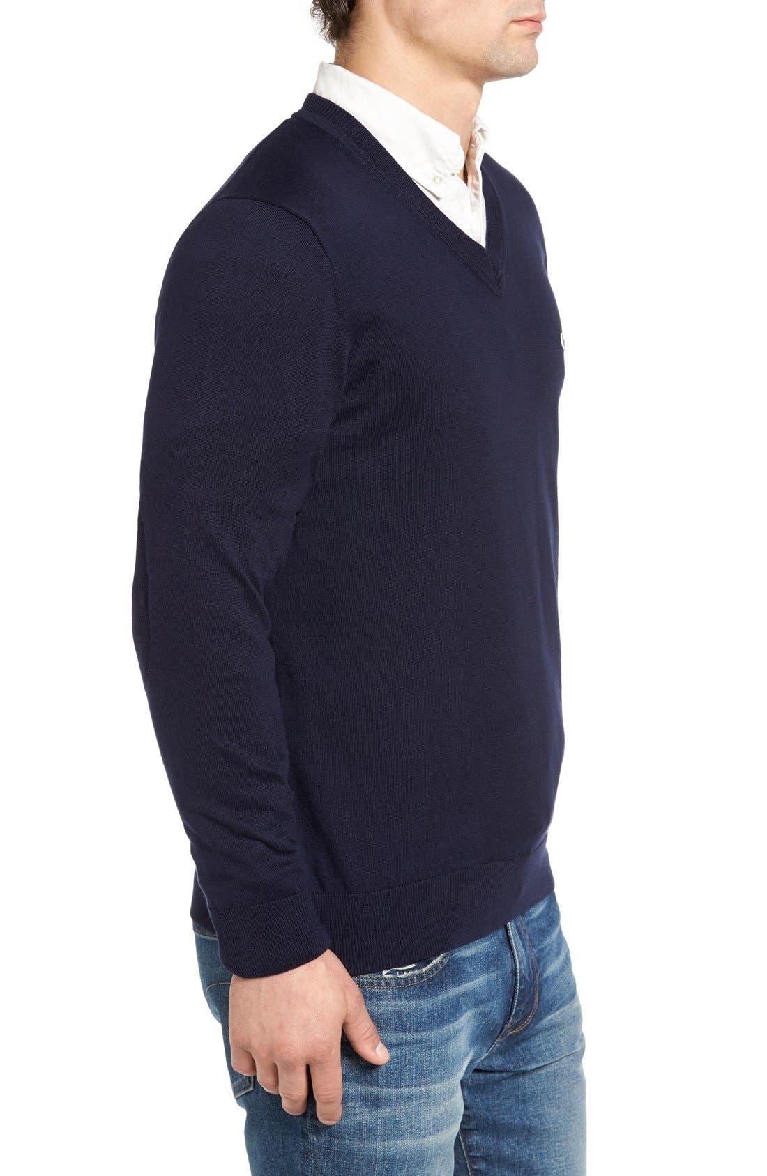 Cotton Jersey V-Neck Sweater,                             Alternate thumbnail 23, color,
