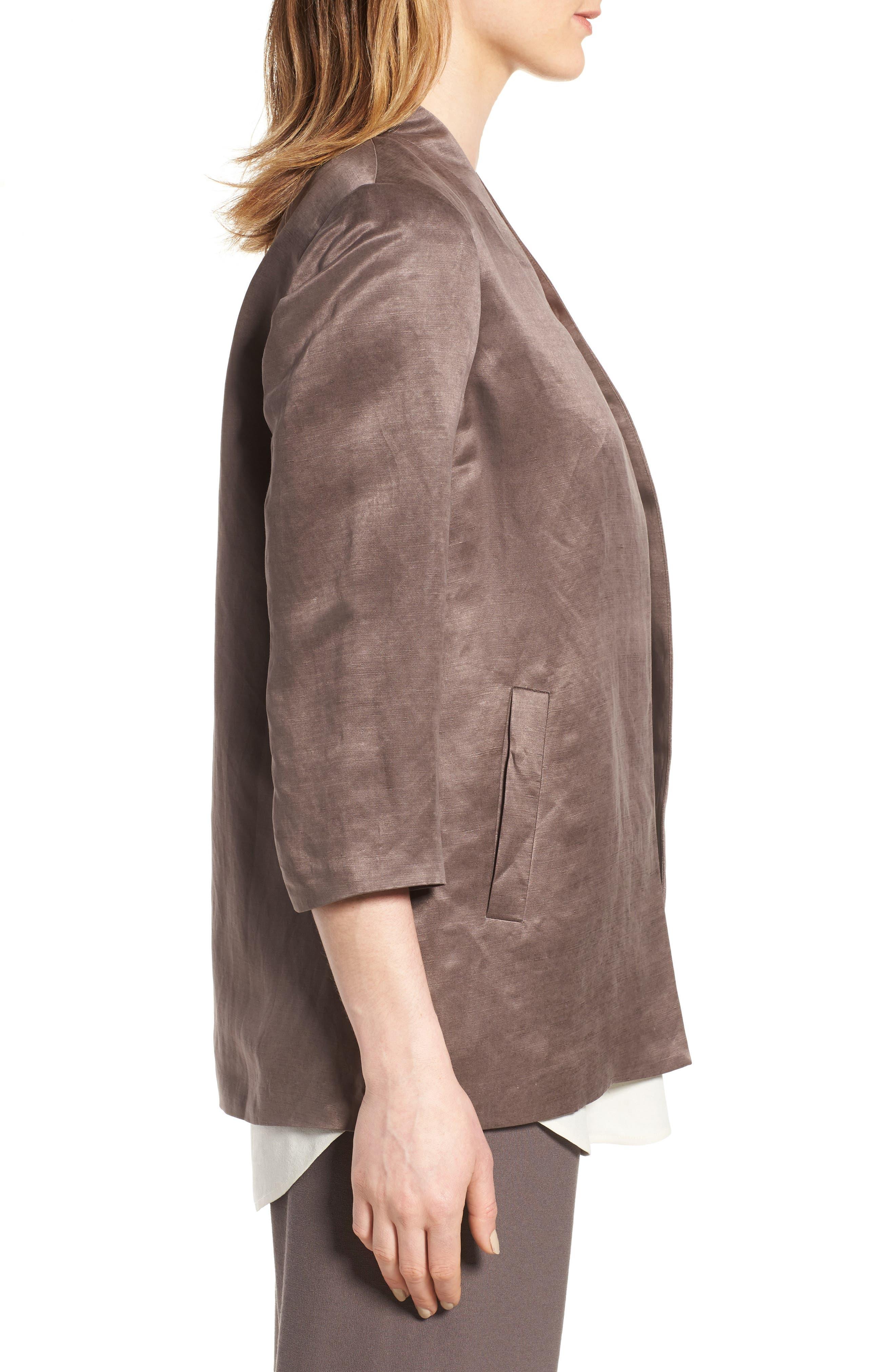 Organic Linen & Silk Jacket,                             Alternate thumbnail 3, color,                             200