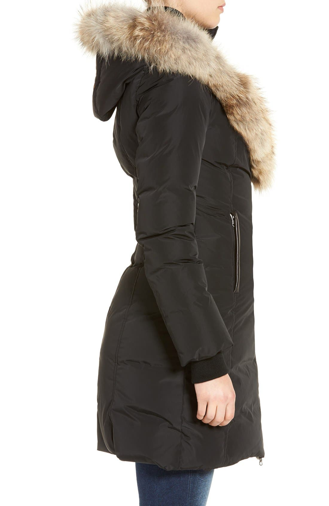 Down Puffer with Coyote Fur Trim,                             Alternate thumbnail 4, color,                             001