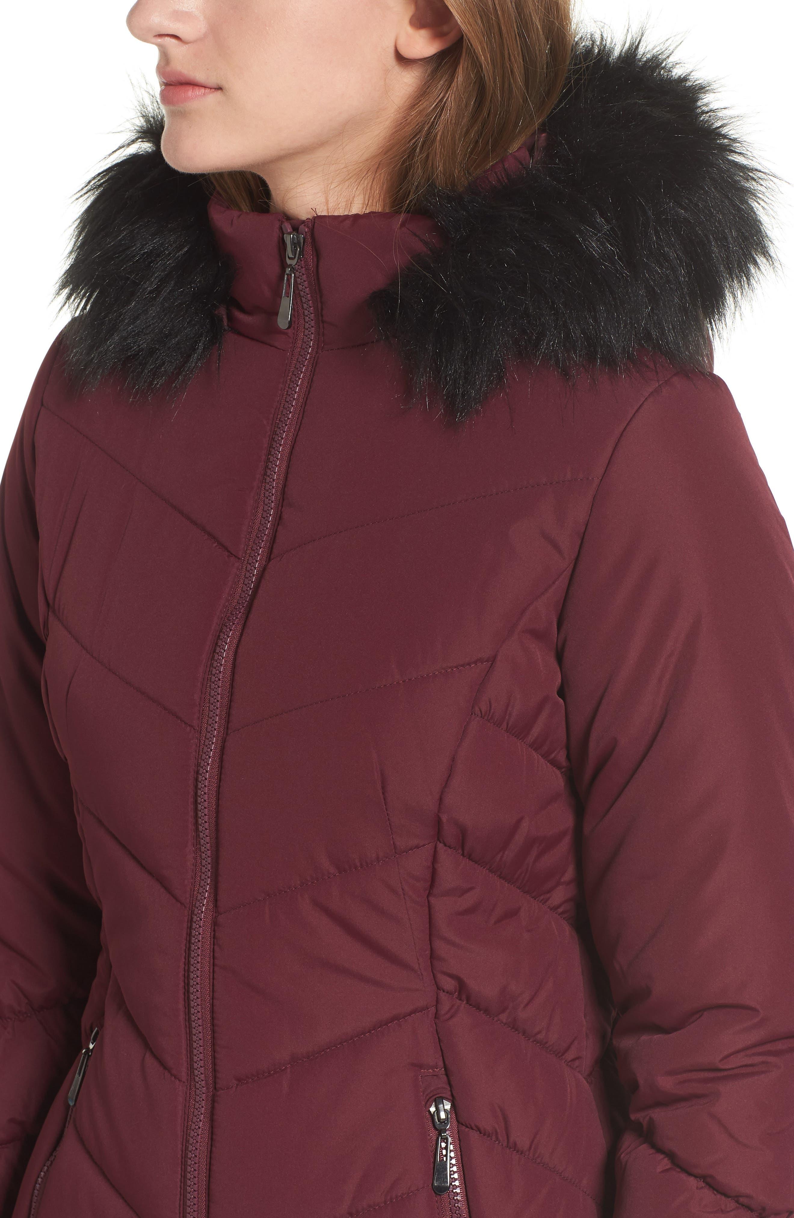 Faux Fur Trim Hooded Puffer Jacket,                             Alternate thumbnail 4, color,                             930