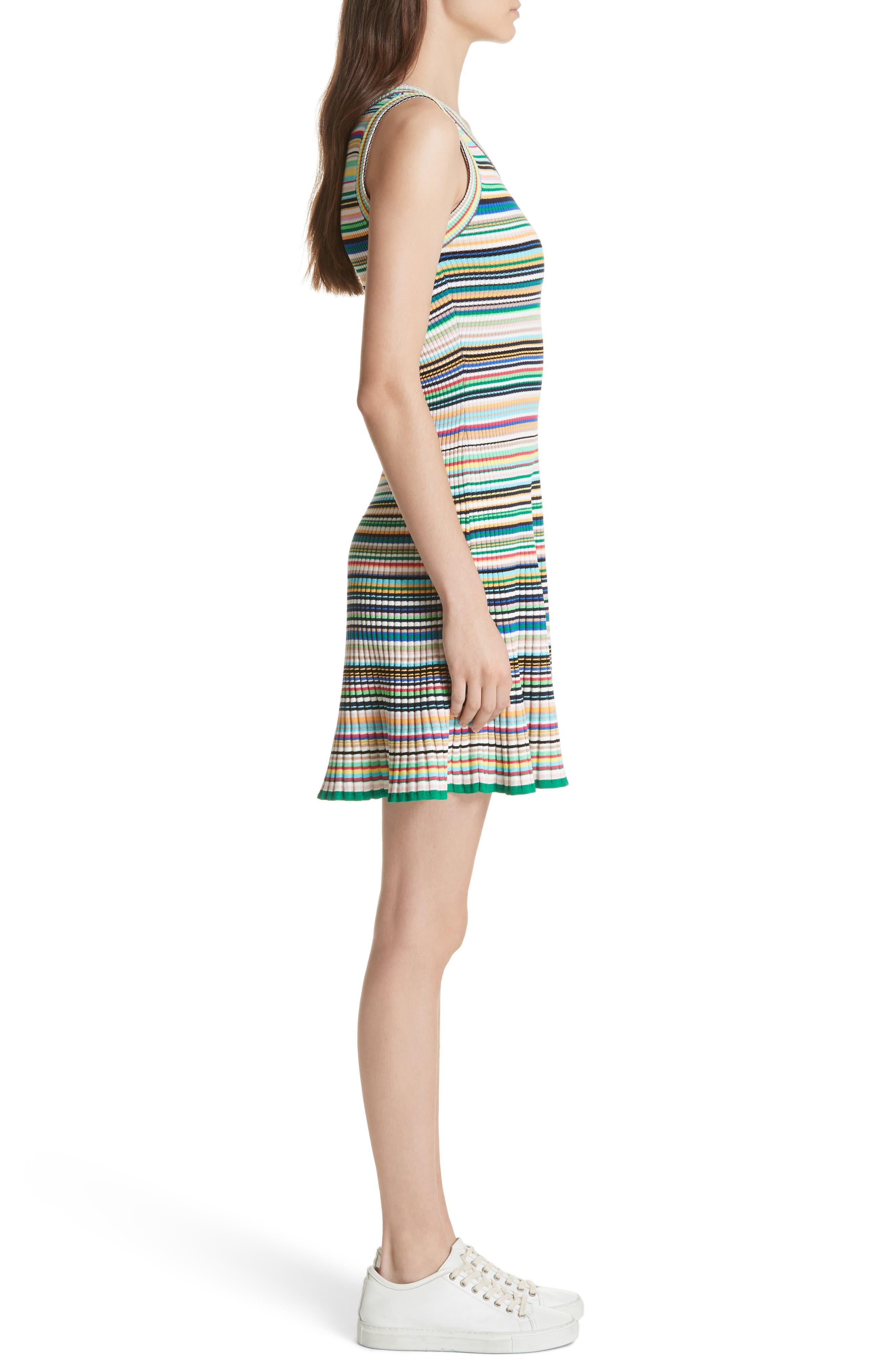 Microstripe Knit Fit & Flare Dress,                             Alternate thumbnail 3, color,                             367