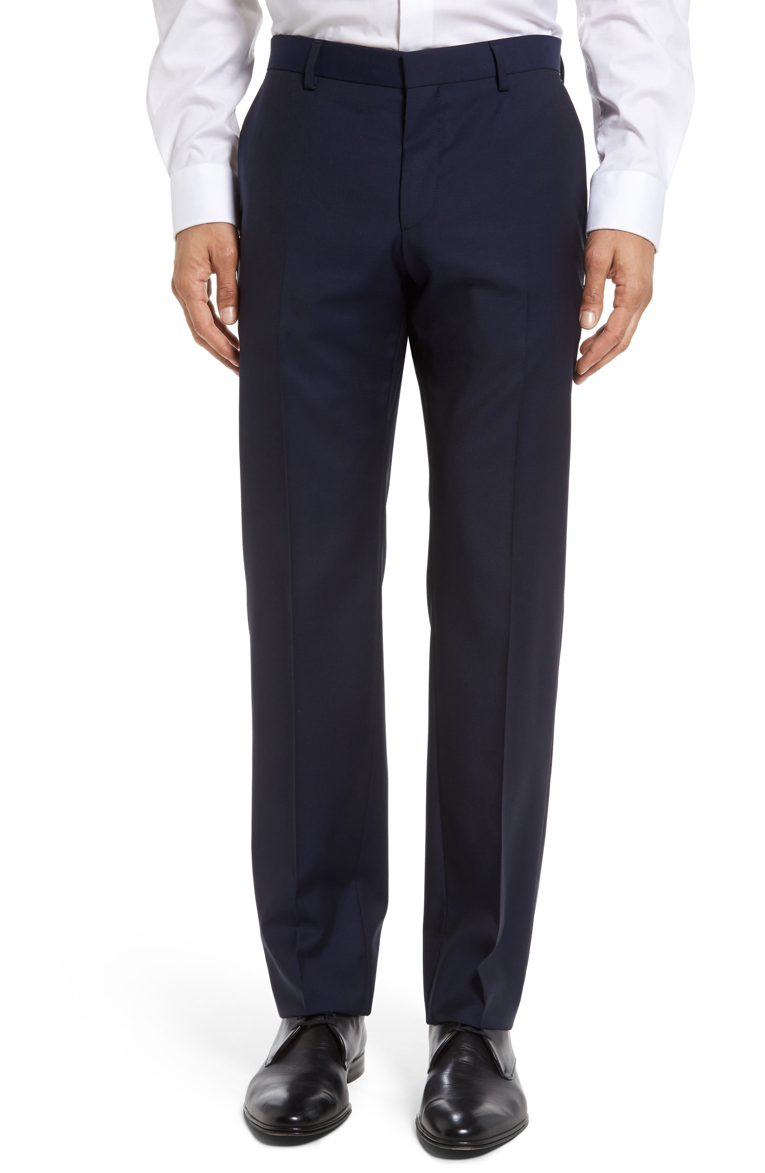 Genesis Flat Front Trim Fit Solid Wool Trousers,                             Main thumbnail 1, color,                             NAVY