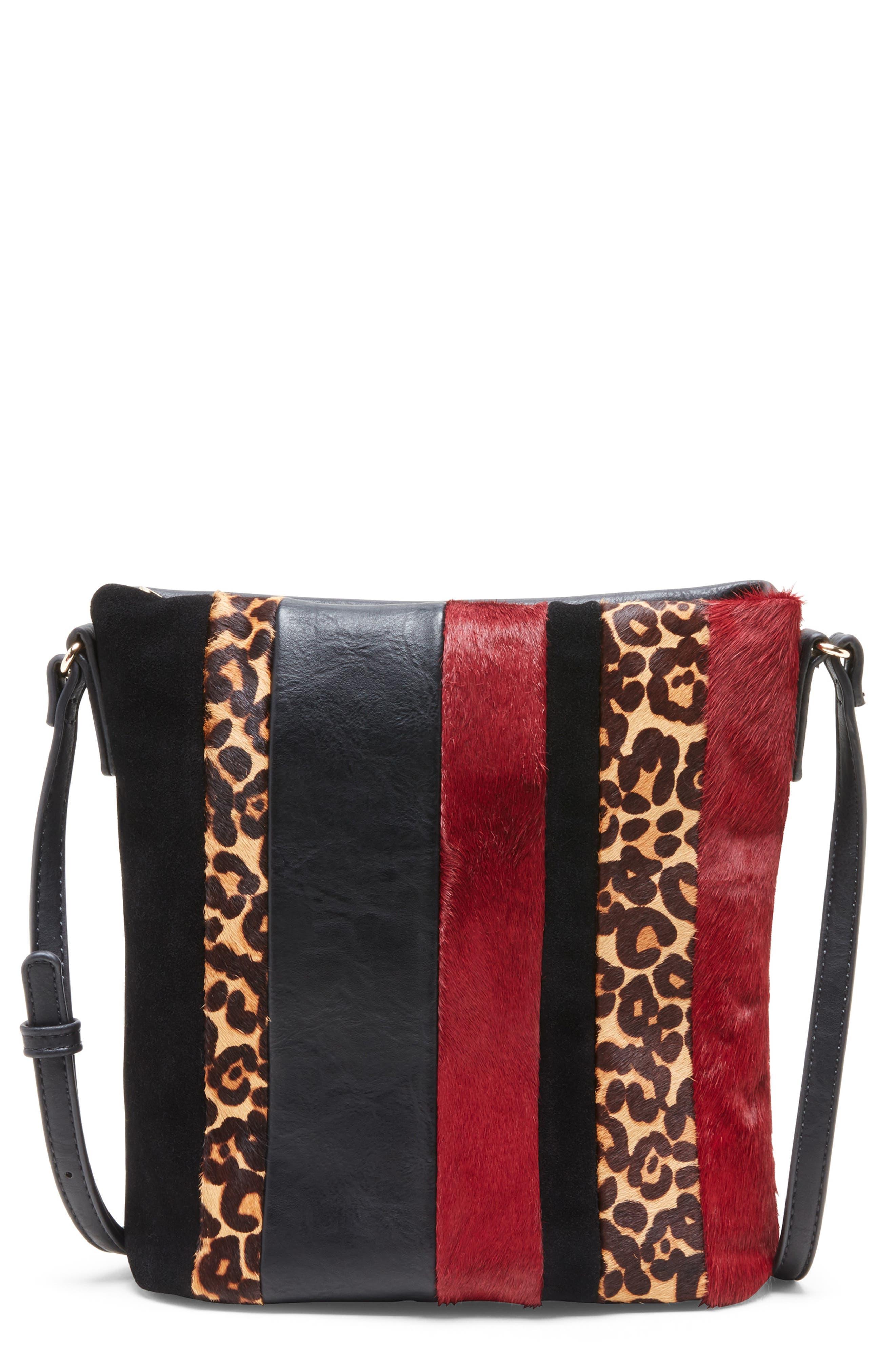 Ragna Genuine Calf Hair Crossbody Bag,                         Main,                         color, OXBLOOD LEOPARD